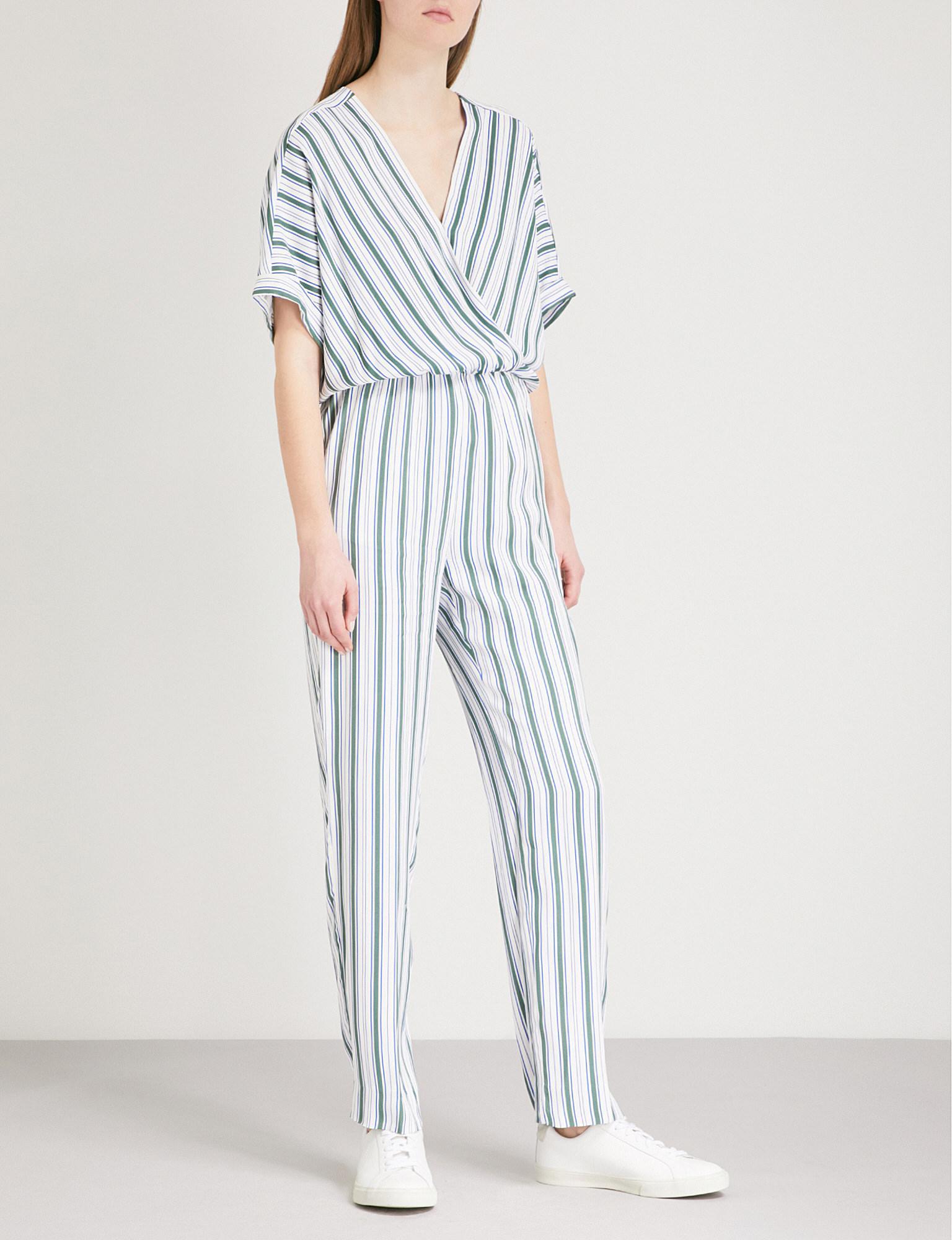 aefdb484bd0 Maje Pandro Striped Twill Jumpsuit in Blue - Lyst