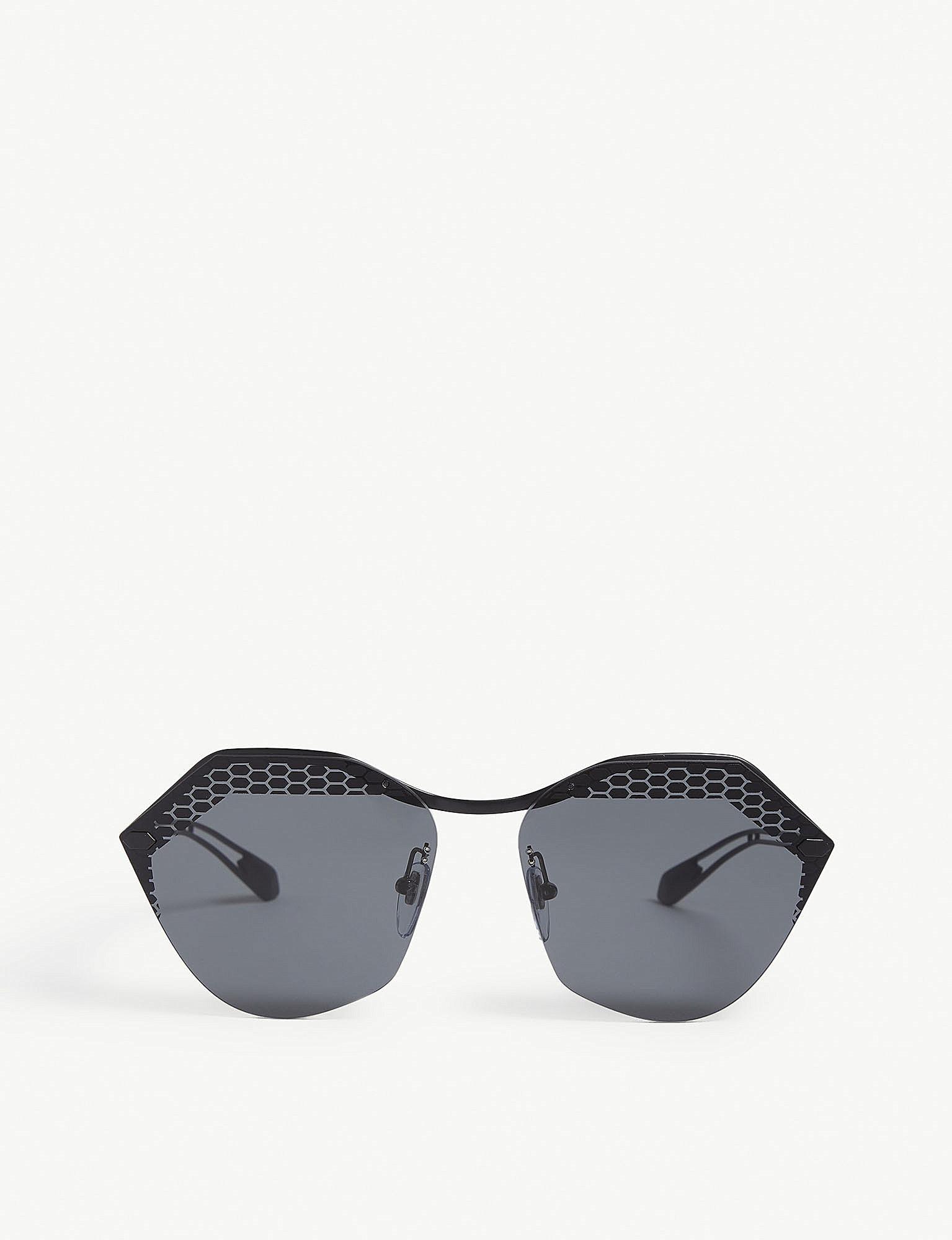 56dc7cf133ae8 BVLGARI Bv6109 Irregular-frame Sunglasses in Black - Lyst