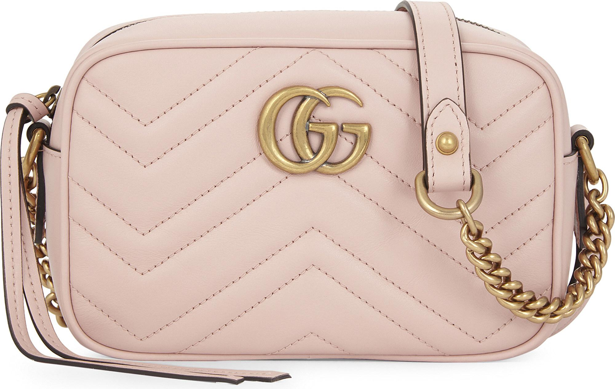 4fc82ffd0dc5c Gucci Gg Marmont Small Quilted Leather Camera Cross-body Bag in Pink ...