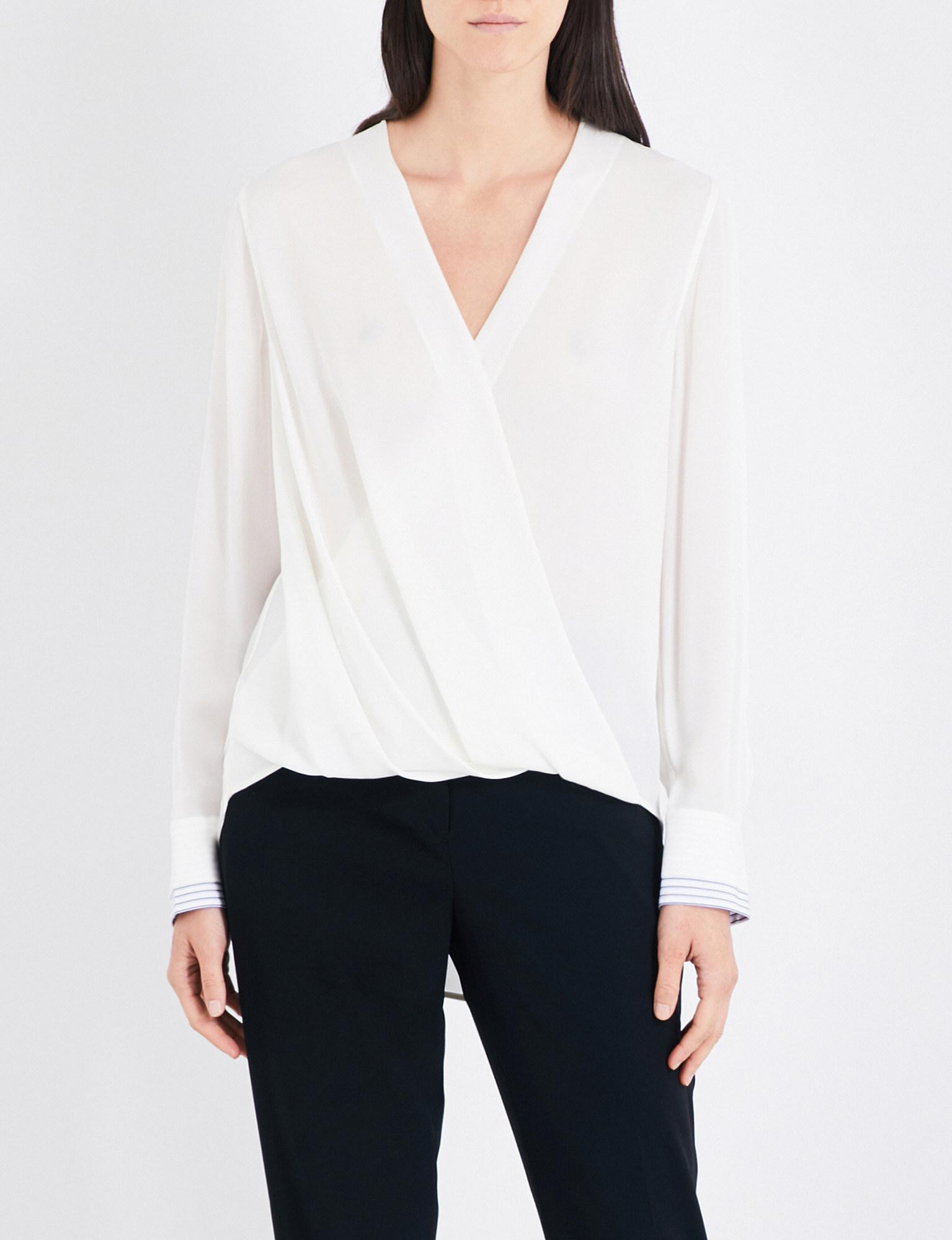 24550a964914c Lyst - Rag   Bone Victor Silk-crepe Blouse in White