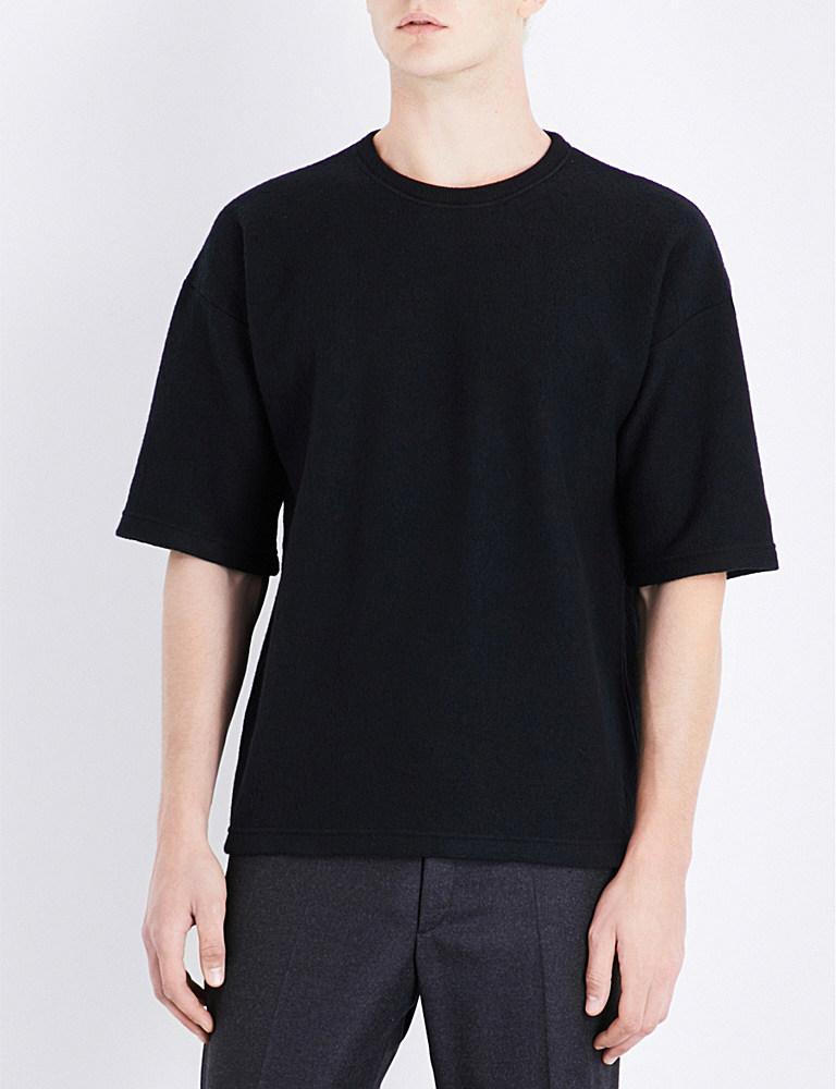 Jil sander crewneck wool t shirt in black for men lyst for Jil sander mens shirt