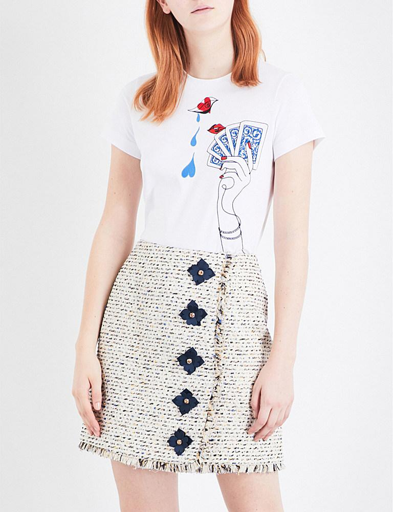 Mary katrantzou iven embroidered cotton t shirt in blue lyst