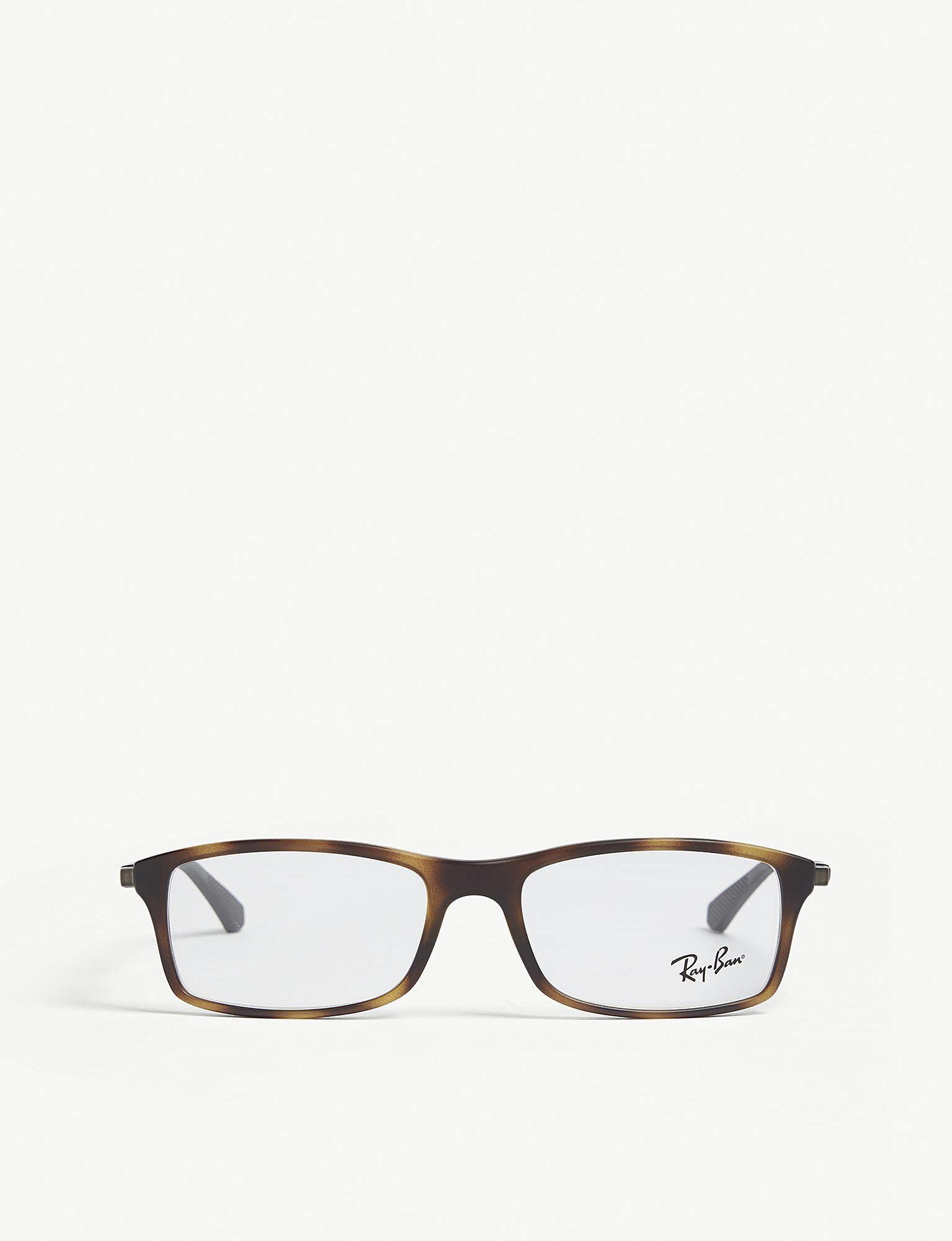 6c7f9f246d Ray-Ban. Women s Rb7017 Rectangle-frame Havana Glasses