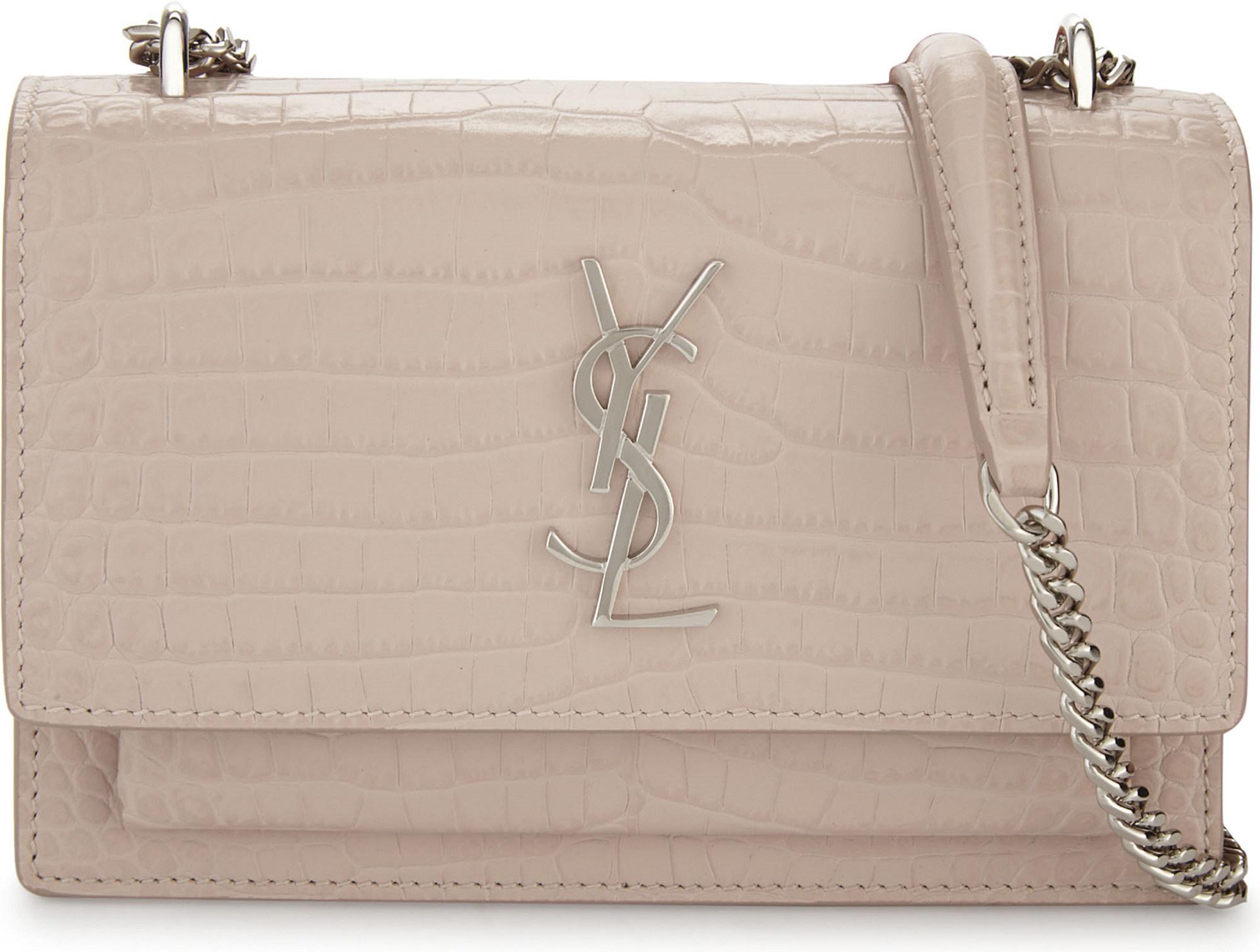 995c5f62e0a Saint Laurent Sunset Croc-embossed Leather Cross-body Bag - Lyst