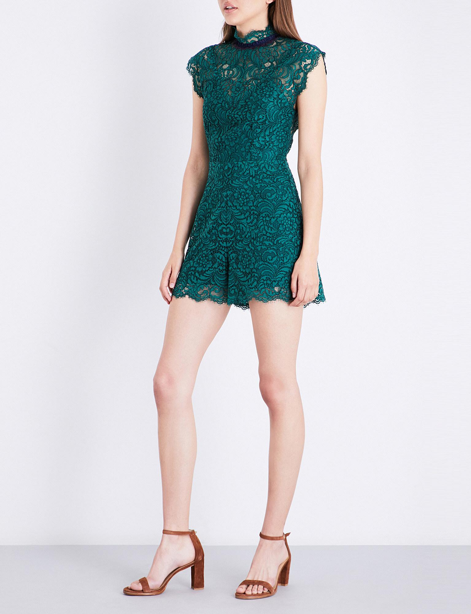 5d16b0c9ec Lyst - Sandro Frilled-collar Lace Playsuit in Green