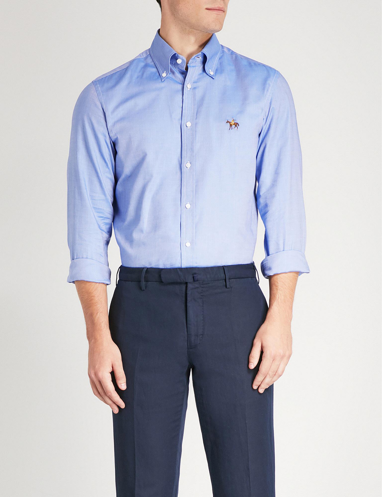 8533df29d57 Ralph Lauren Purple Label. Men s Blue Logo-embroidered Regular-fit Cotton  Shirt