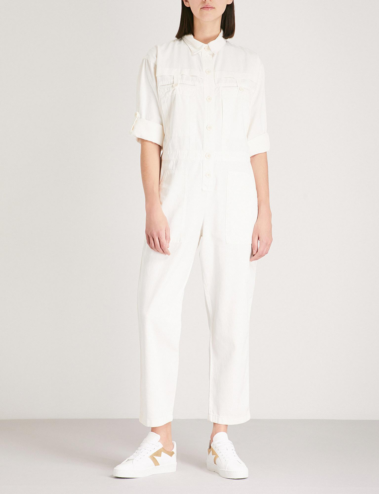 2e0fd34d42c Lyst - Maje Long Sleeve Cotton Jumpsuit in White