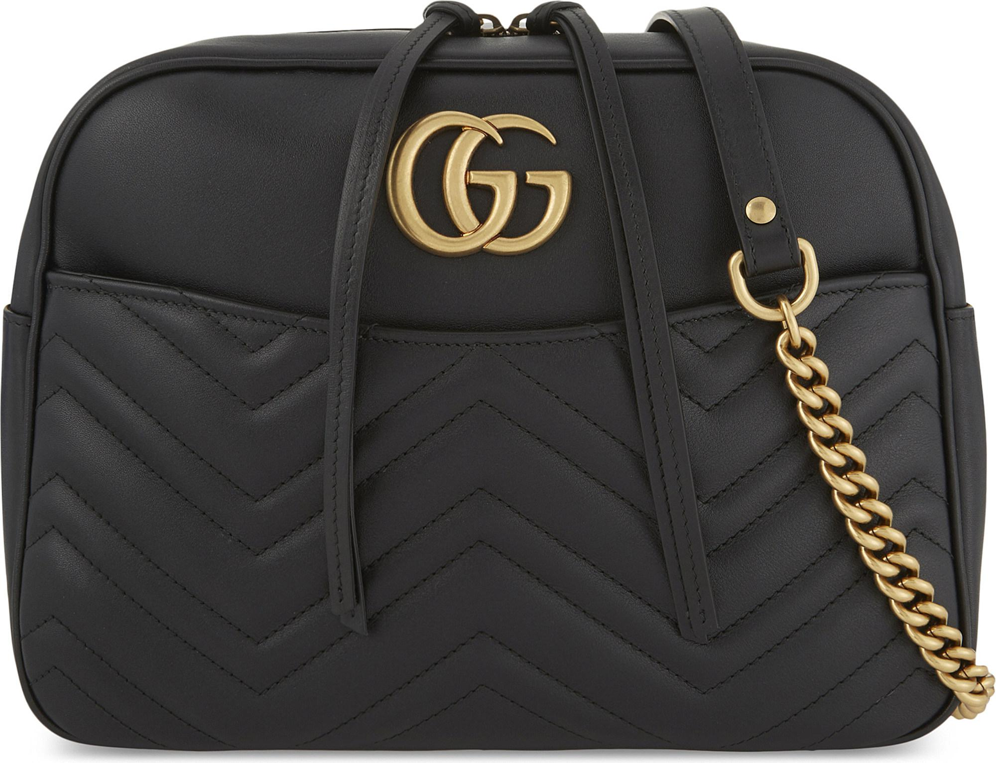 Lyst - Gucci GG Marmont Medium Quilted Leather Shoulder Bag in Black 036ba0e9a452f