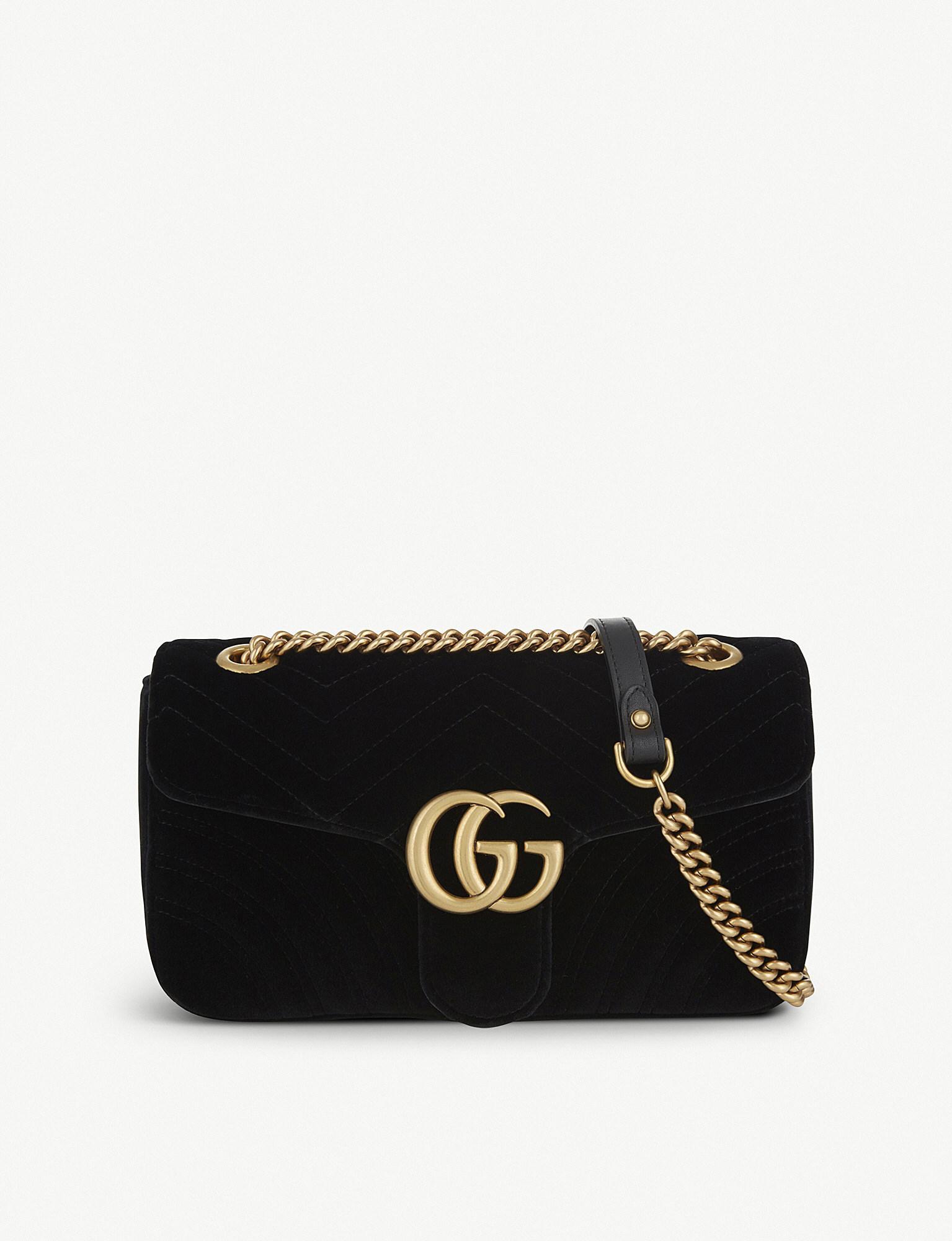 68cb16f686e4 Lyst Gucci Gg Marmont Small Velvet Shoulder Bag In Black Save