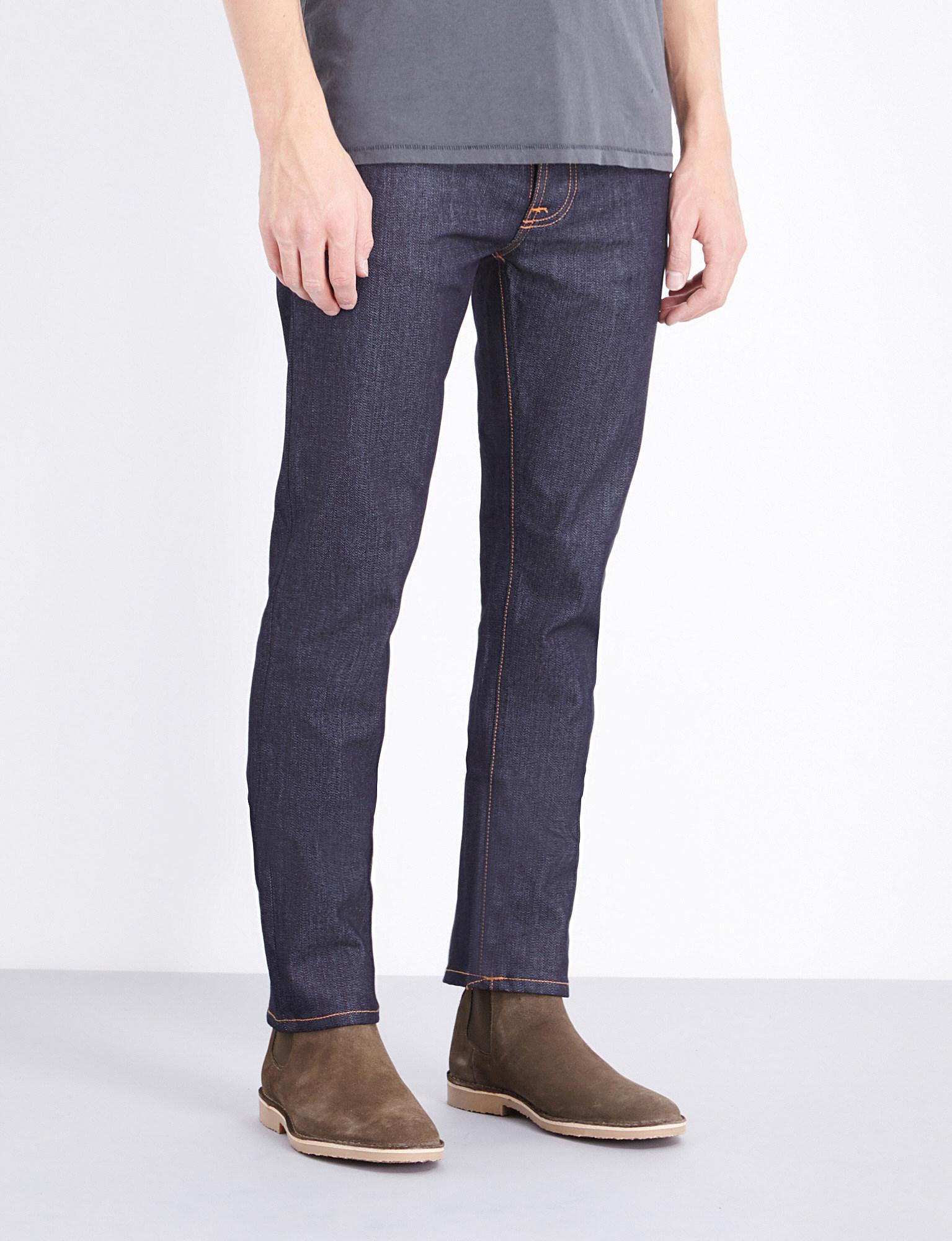 lyst nudie jeans grim tim regular fit straight leg jeans in blue for men. Black Bedroom Furniture Sets. Home Design Ideas