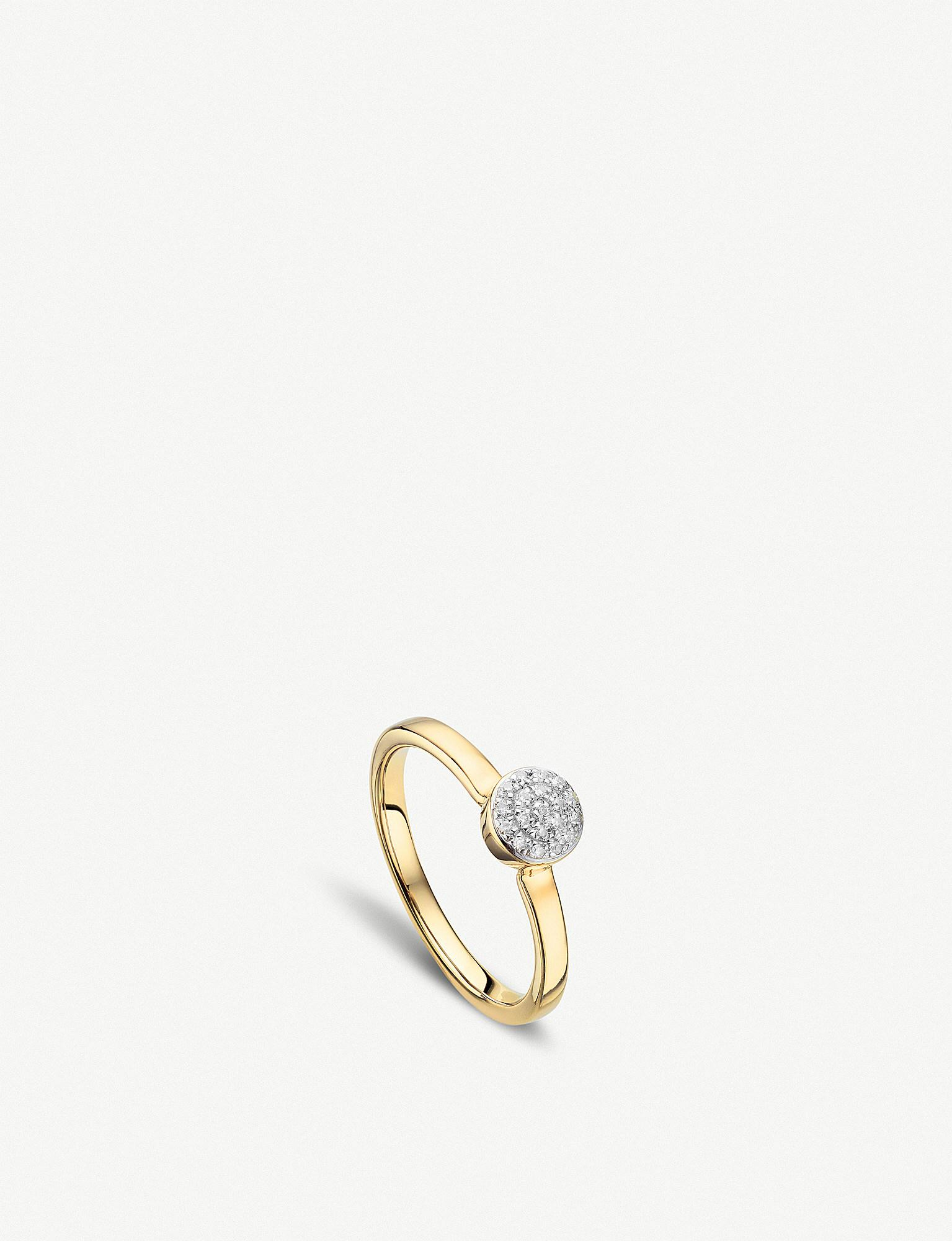 Rose Gold Fiji Large Button Stacking Ring Diamond Monica Vinader fvVCvETX