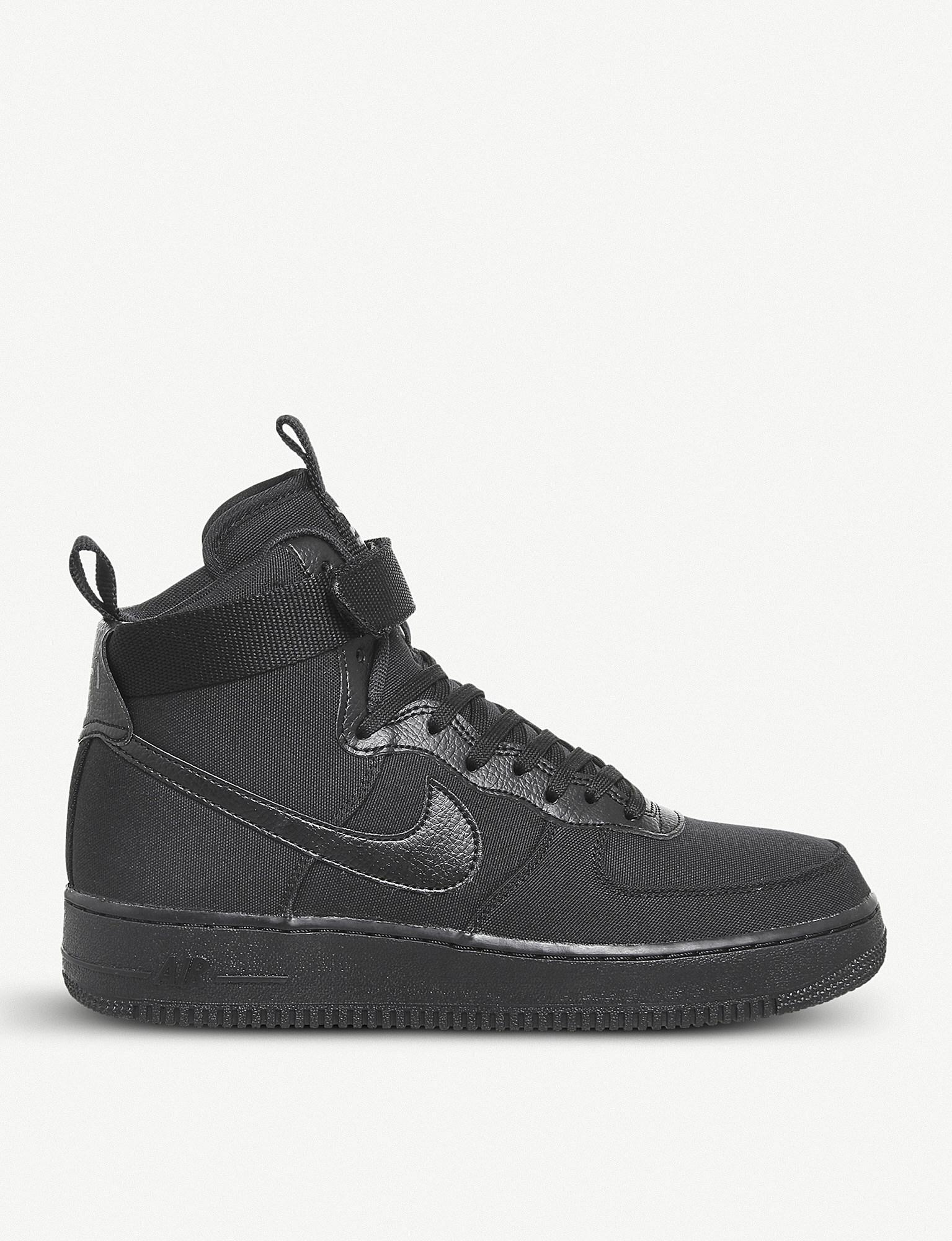 Nike. Men's Black Air Force 1 High-top Canvas And Leather Trainers