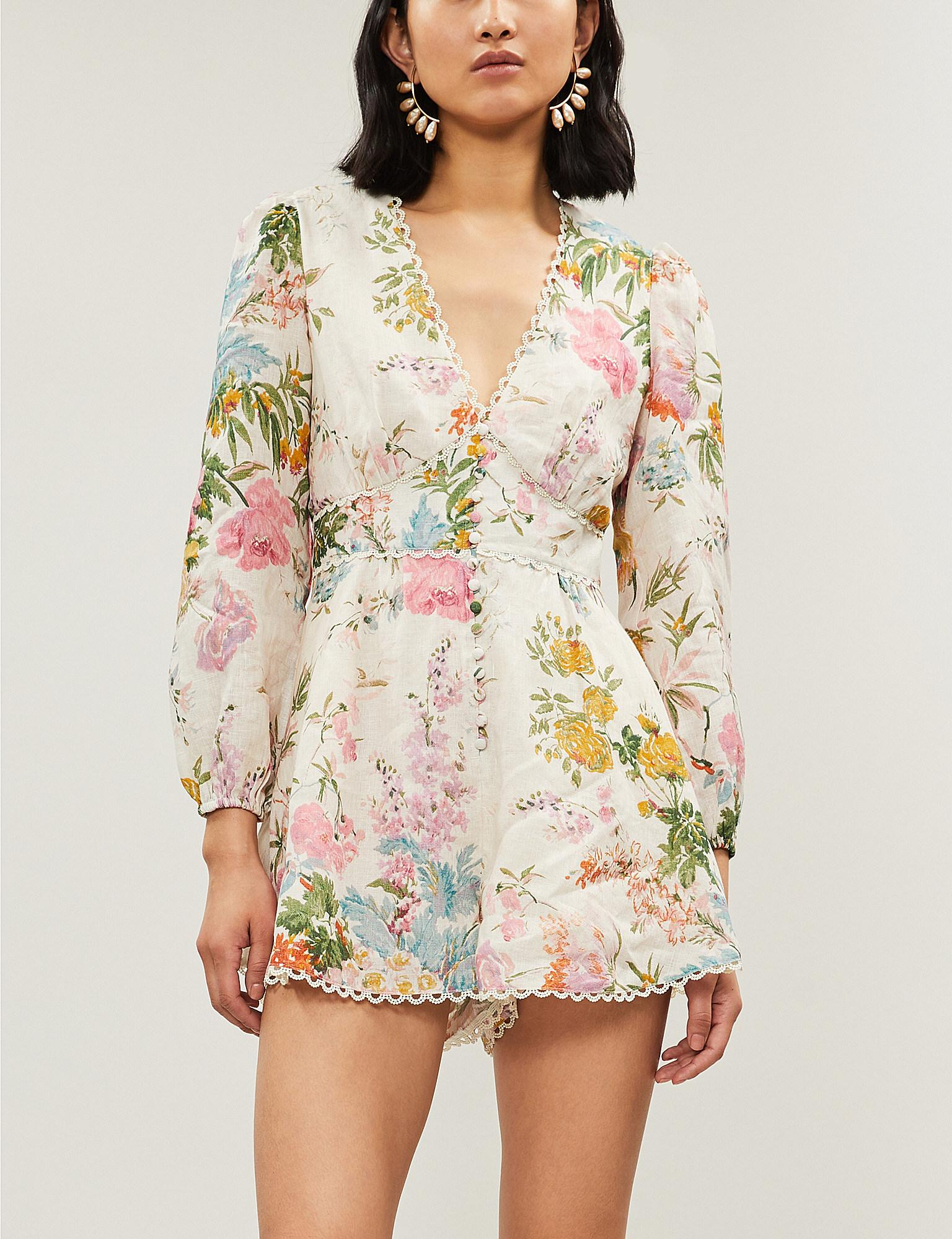 ec3e27126b Lyst - Zimmermann Pink And White Heathers Plunge Floral-print Linen ...