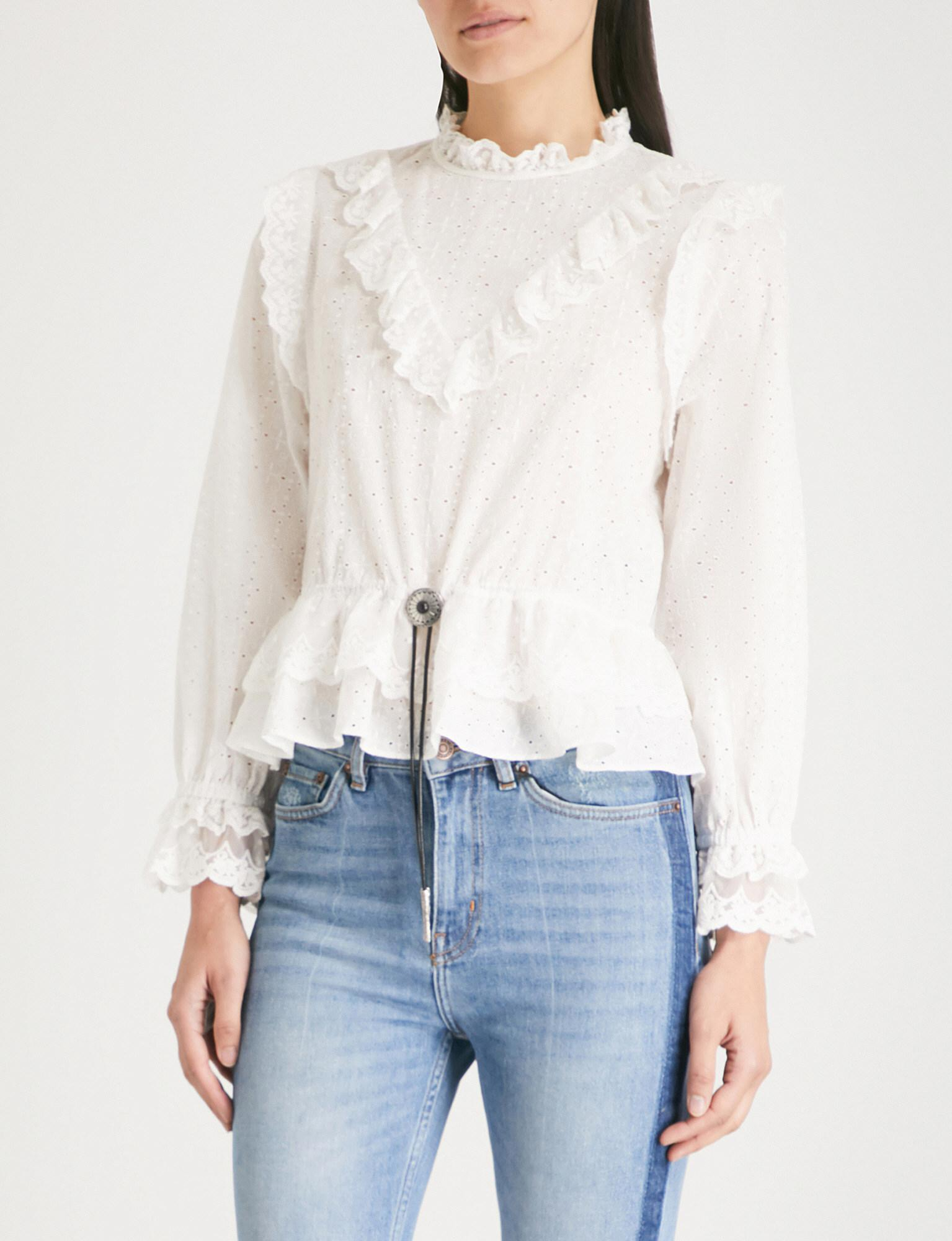f1bb624944e The Kooples Dotted Swiss Embroidered Cotton-silk Top in White - Lyst