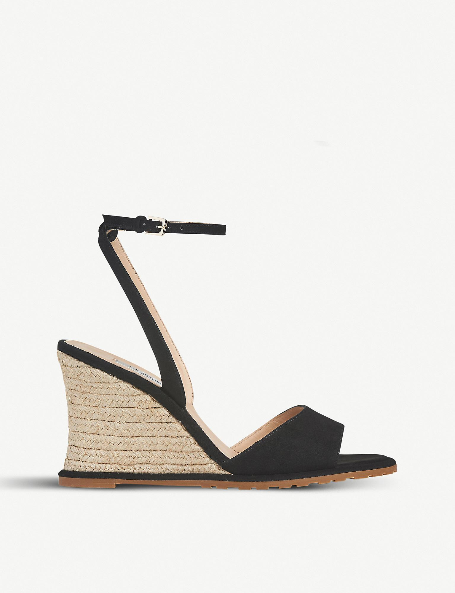 16d22624dc L.K.Bennett Talitha Suede Wedge Sandals in Black - Save 56% - Lyst