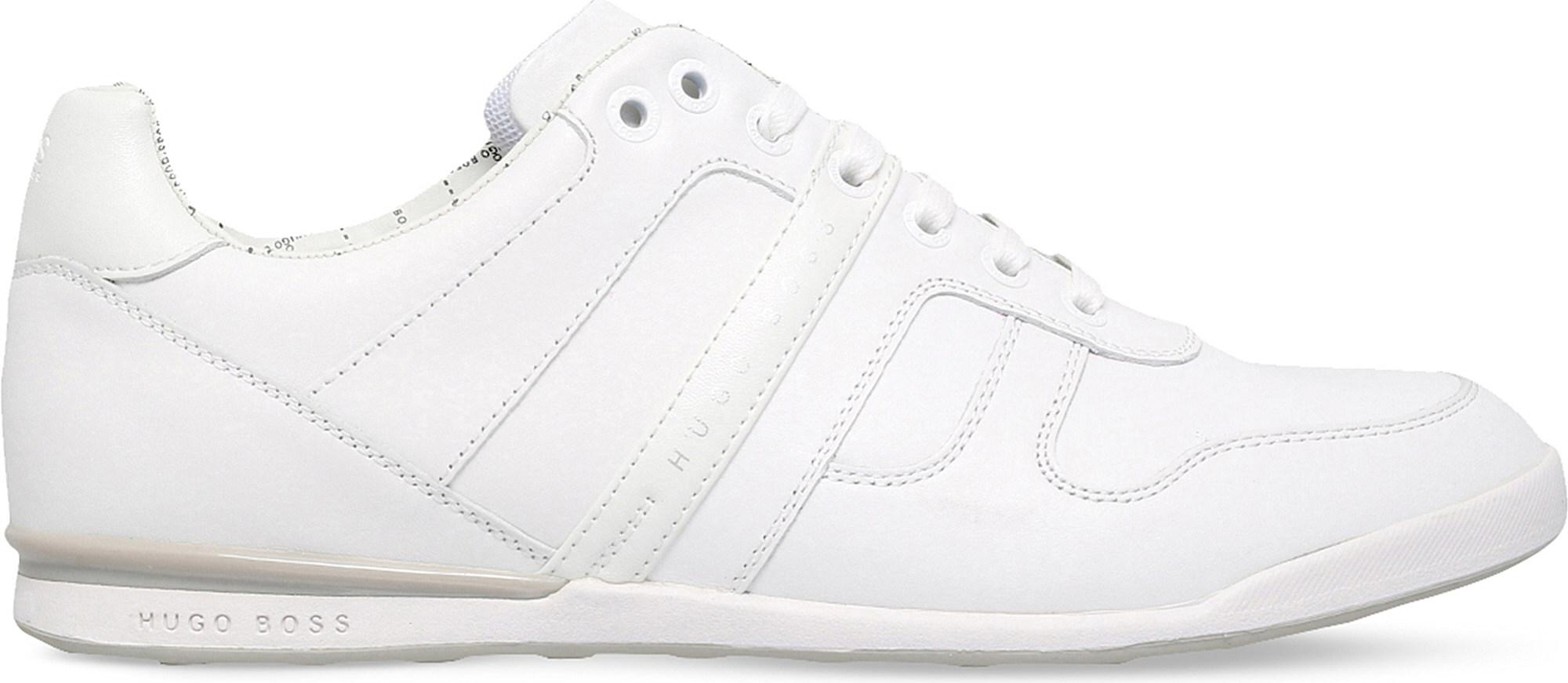 fa184fc3e BOSS G Arkansas Leather Trainers in White for Men - Lyst