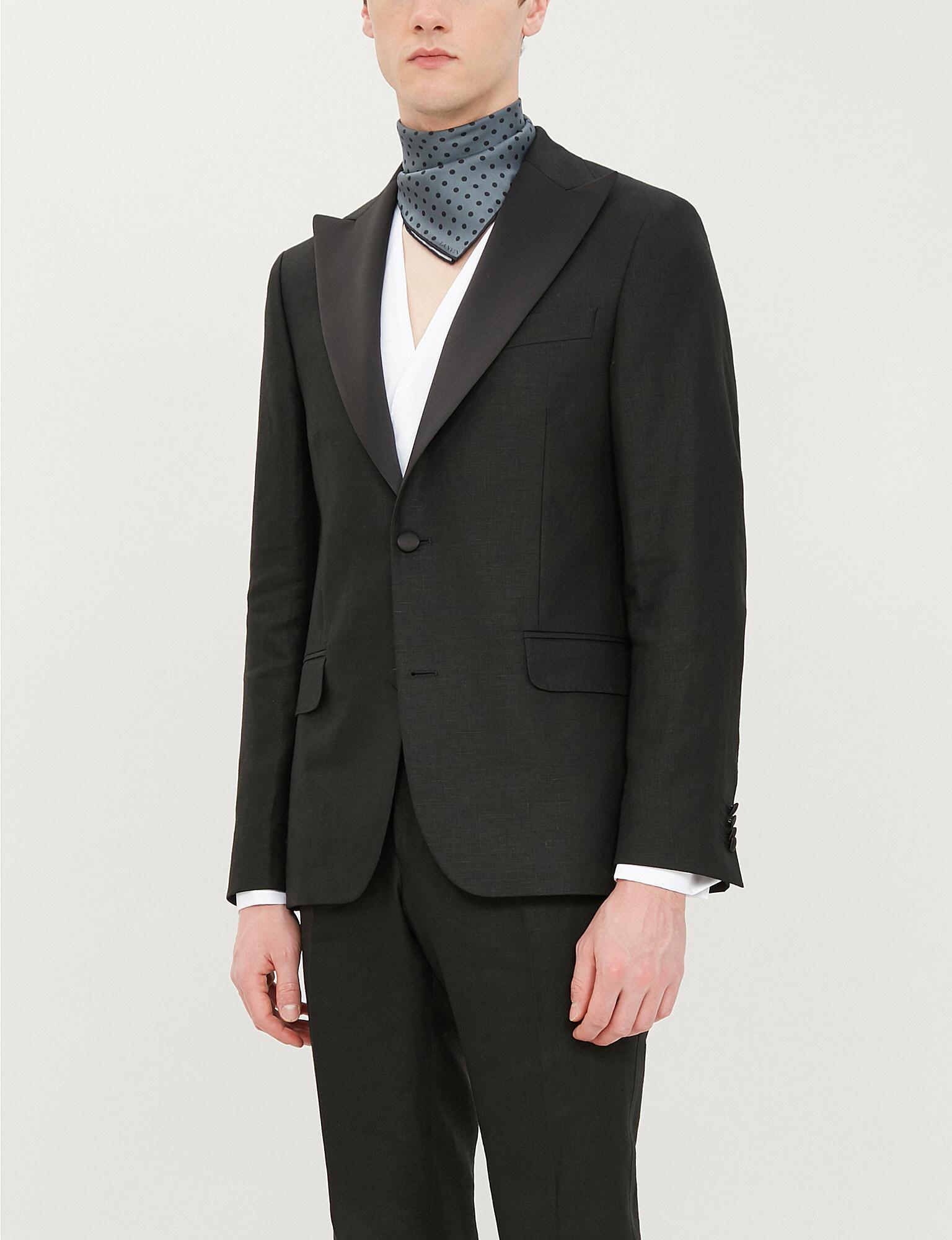 2f444b1186 Lyst - Oscar Jacobson Elder Regular-fit Linen Tuxedo Blazer in Black ...