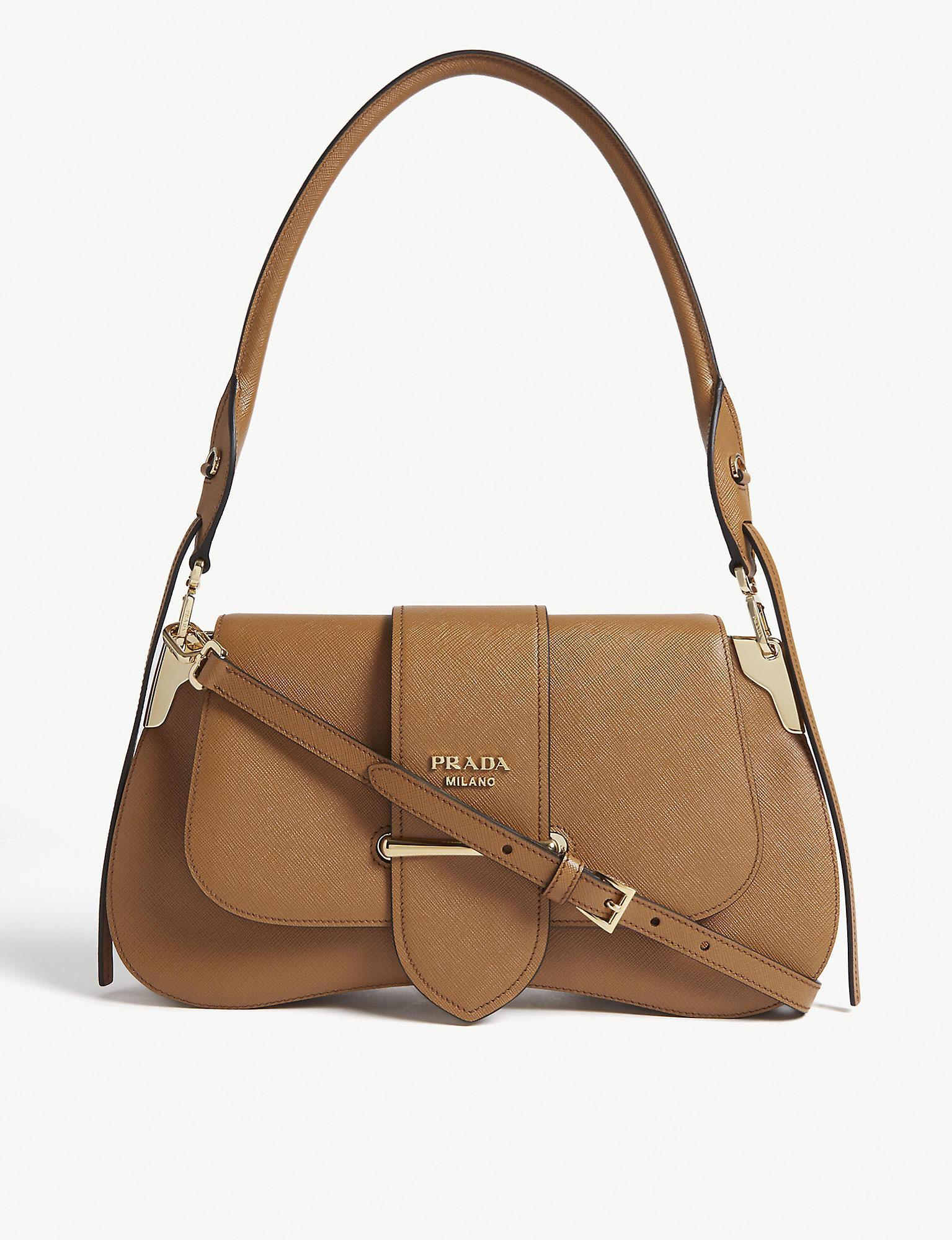 88c4b0b6adb Prada Sidney Leather Saddle Bag in Brown - Lyst