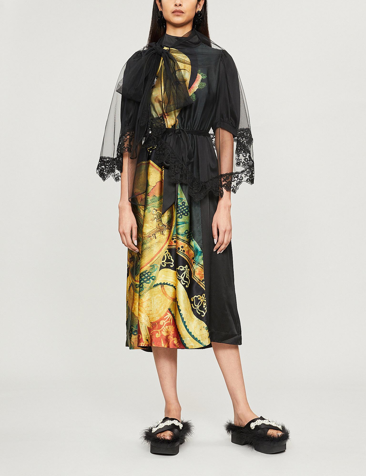 61ea8a10676e Lyst - Simone Rocha Graphic-print Elasticated-waist Silk Dress in Black