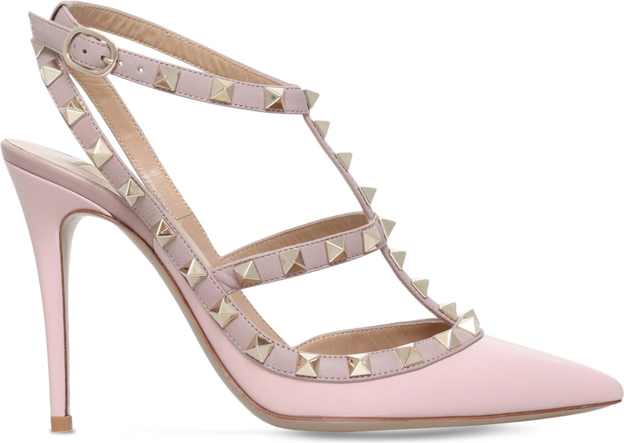 pale pink rockstud 85 leather slingback pumps - Pink & Purple Valentino Discount Pictures Low Cost 100% Original Online Discount Footaction aiweEor