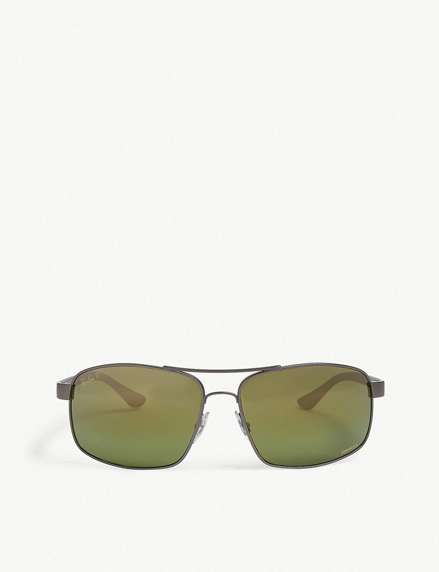 f1e14d7825f Lyst - Ray-Ban Rb3604 Chromance Rectangle-frame Sunglasses in Green ...