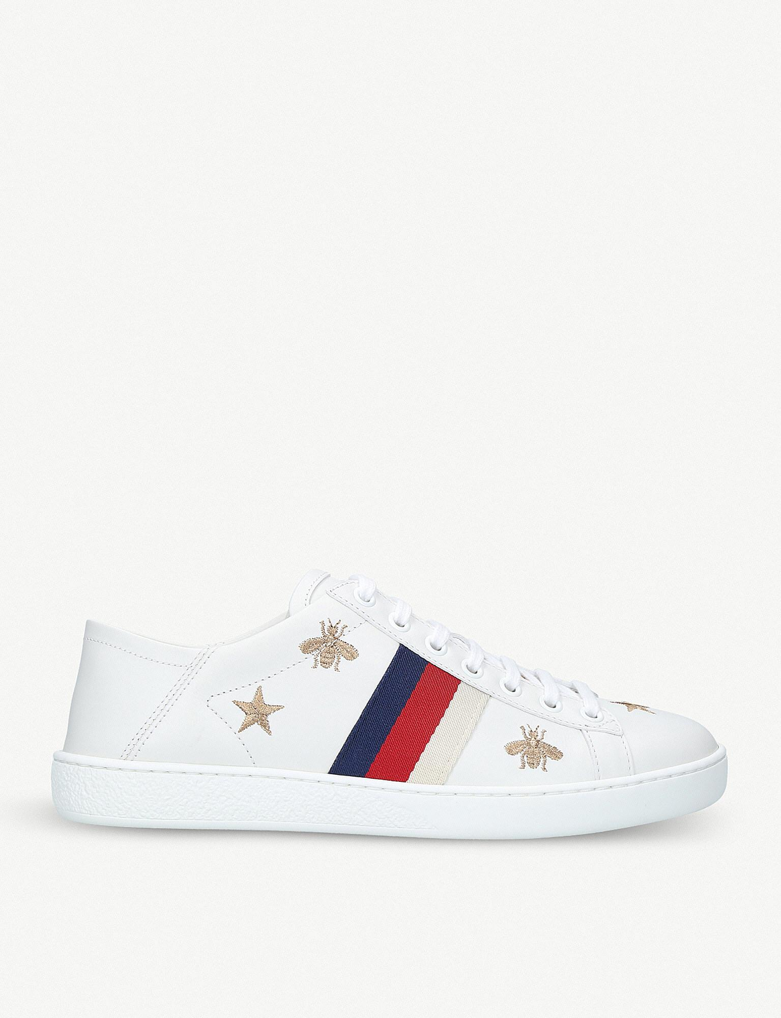 f21577952 Gucci New Ace Bee-embroidered Leather Trainers in White - Lyst