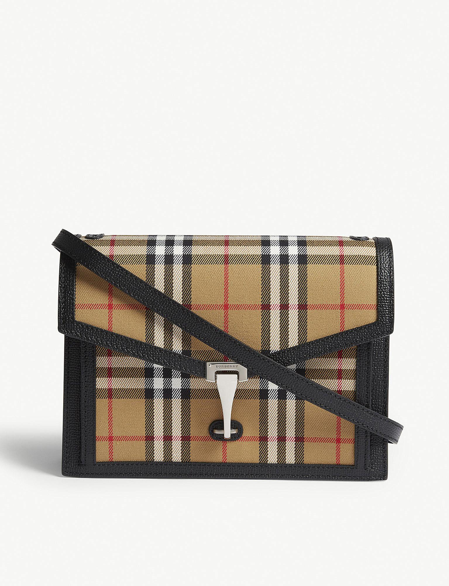 105c18ee25ce Lyst - Burberry Small Vintage Check Cross-body Bag in Black