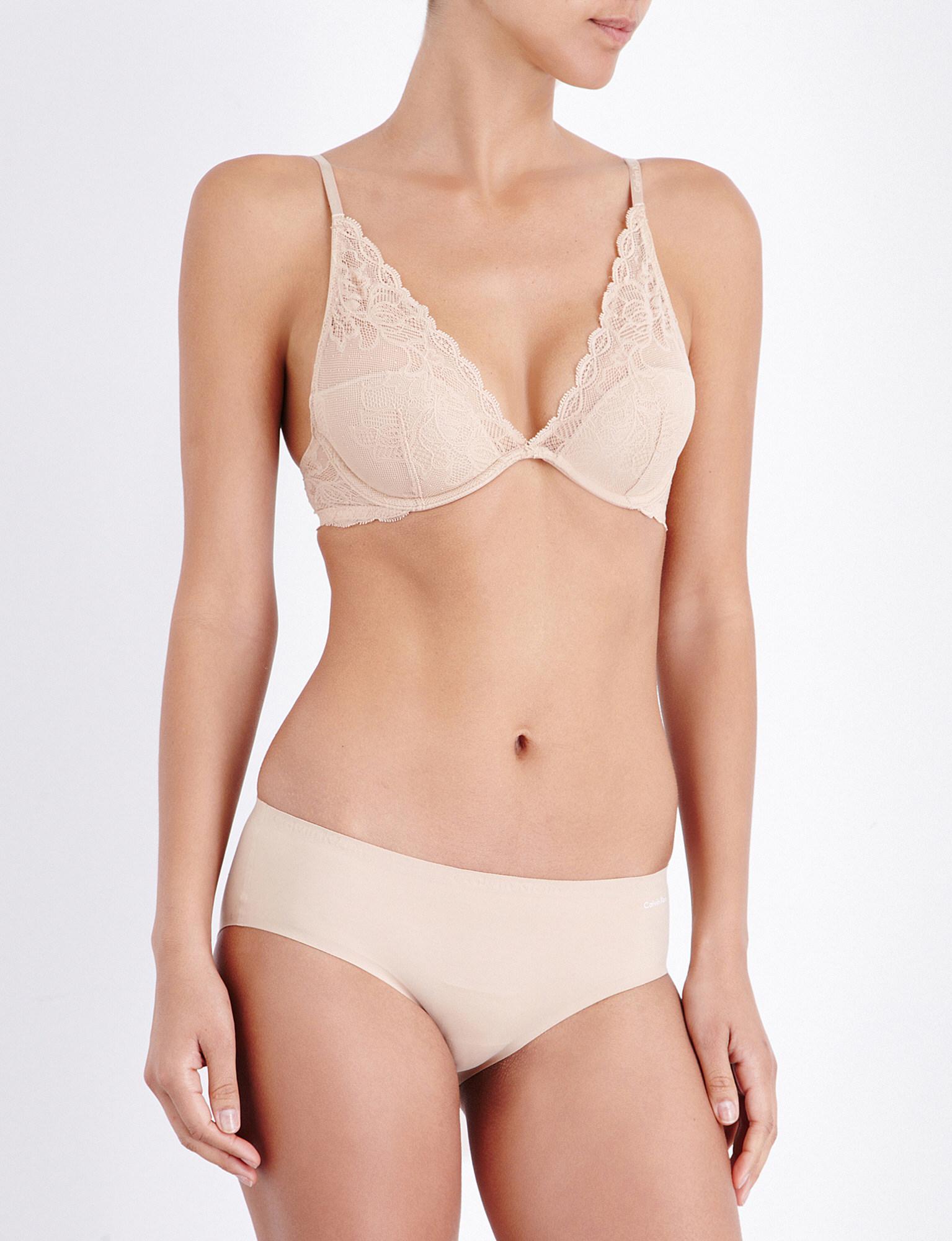 9a68f21913 Lyst - Calvin Klein Seductive Comfort Lace Plunge Bra in Natural