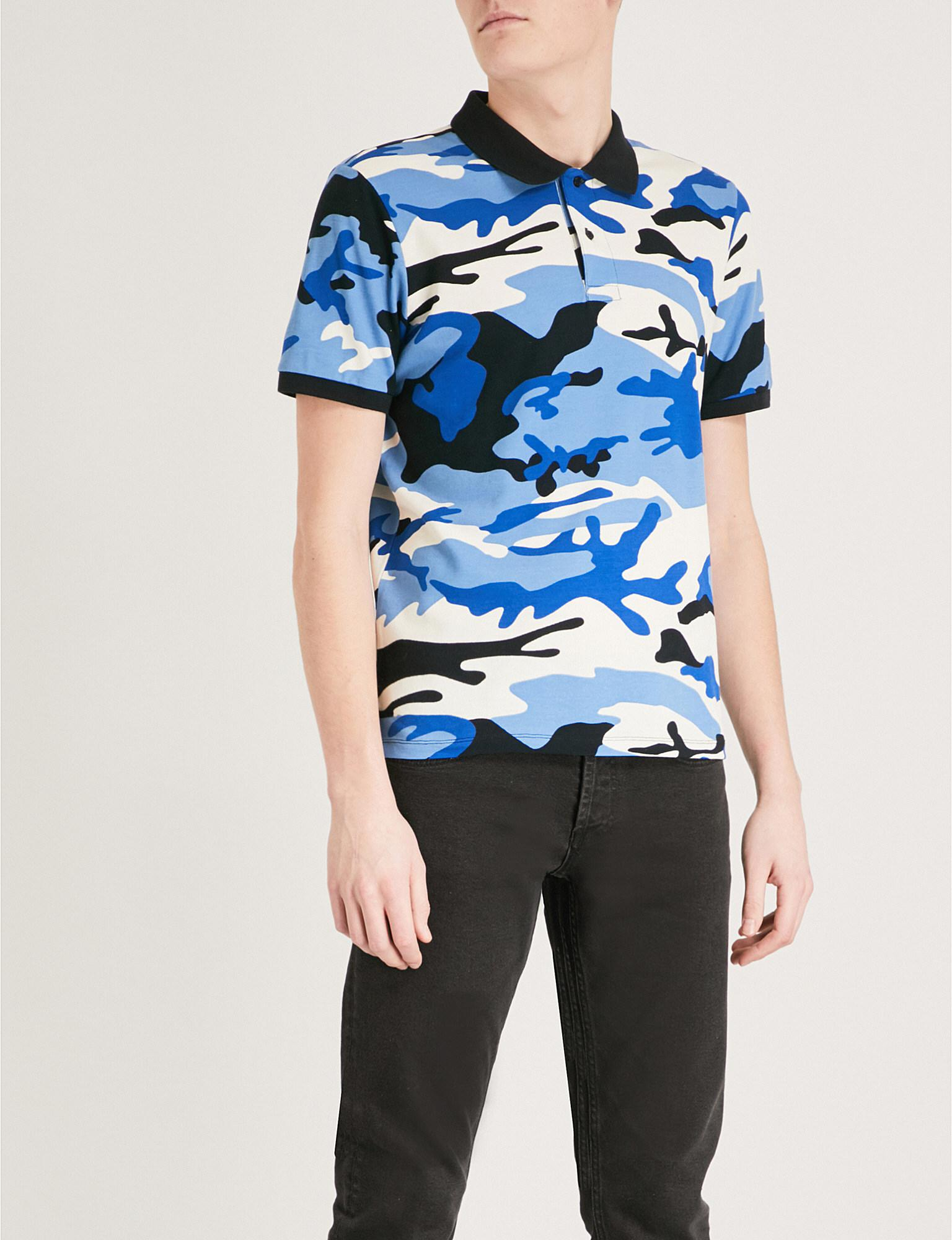 0def968de5d2 Sandro Camouflage-print Cotton-pique Polo Shirt in Blue for Men - Lyst