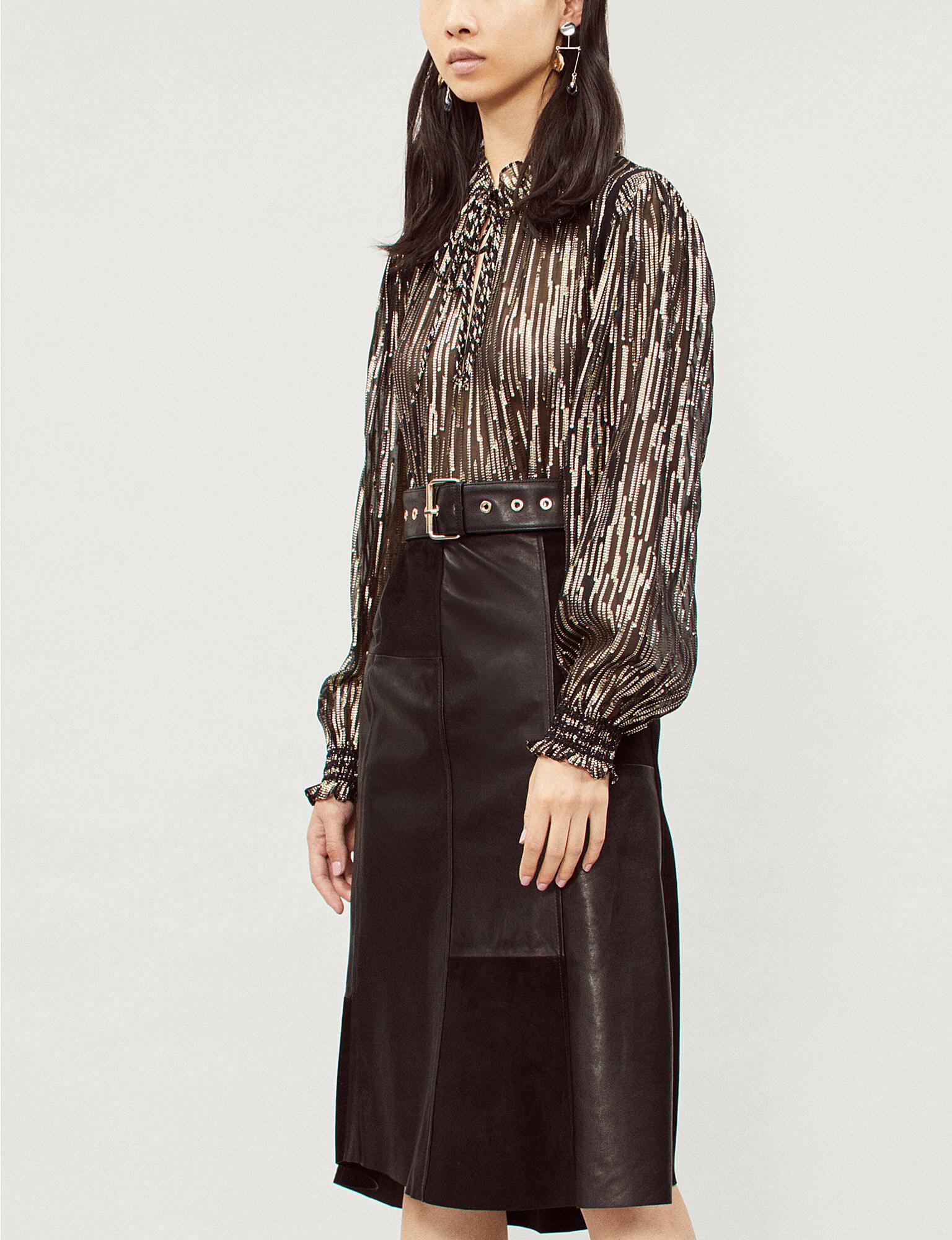 680215d22e12a6 Lyst - Ba Sh Ladies Black Noir Nina Metallic Top in Black