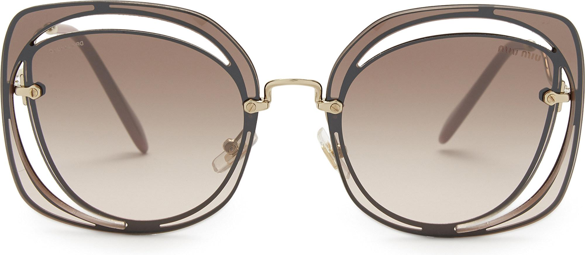 8bfae3a07f3 Miu Miu Mu54s Square-frame Sunglasses in Brown - Lyst