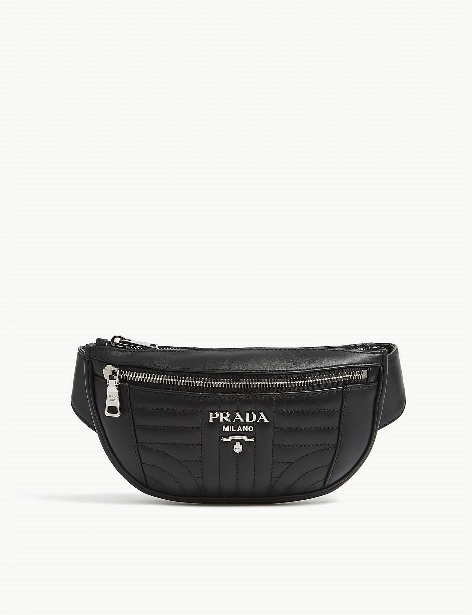ca3594293117 ... sale prada diagramme quilted leather bum bag in black for men lyst  5ac0c 2fa7f