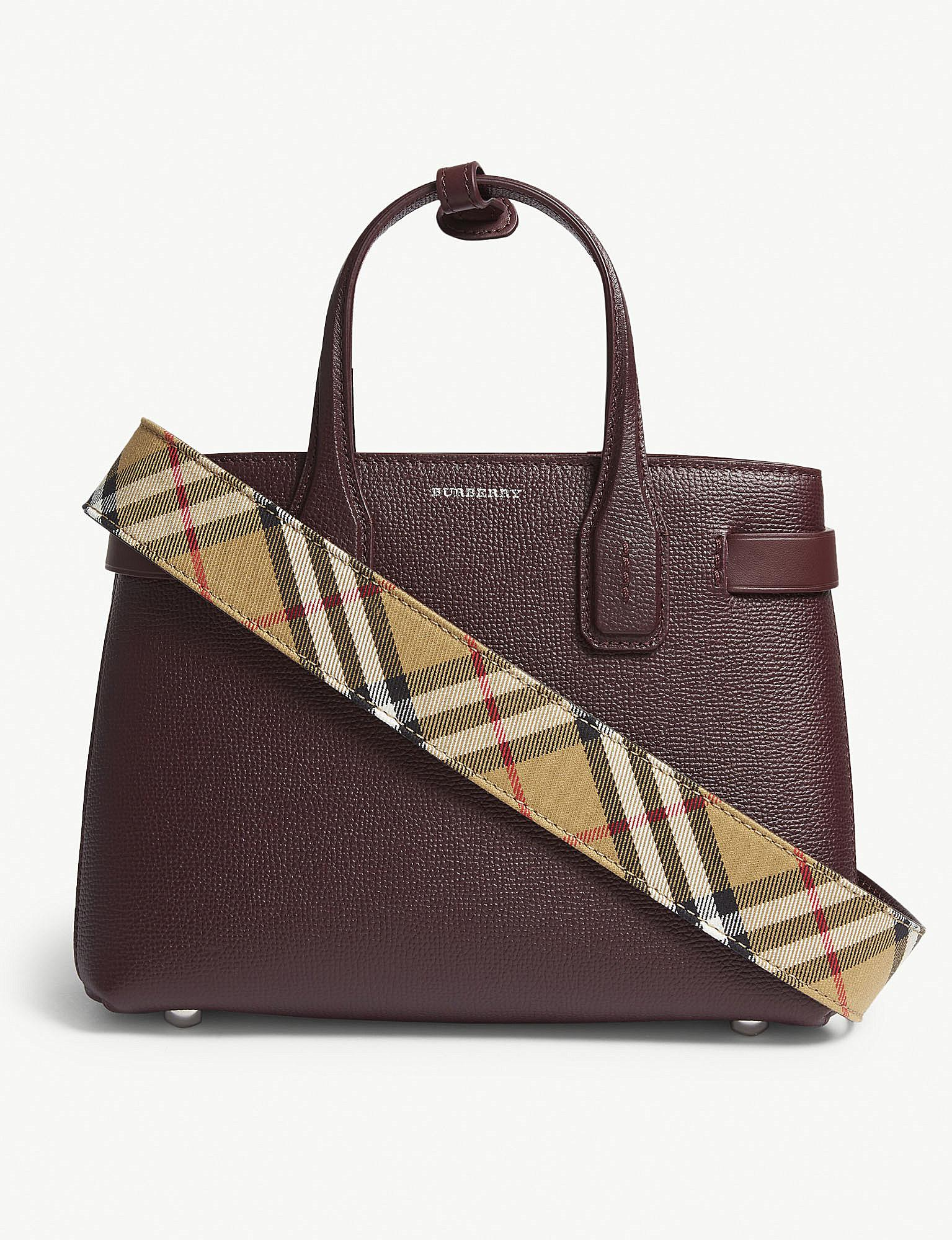 56bbfe30d819 Burberry. Women s Mahogany Red Check Banner Small Grained Leather Tote Bag