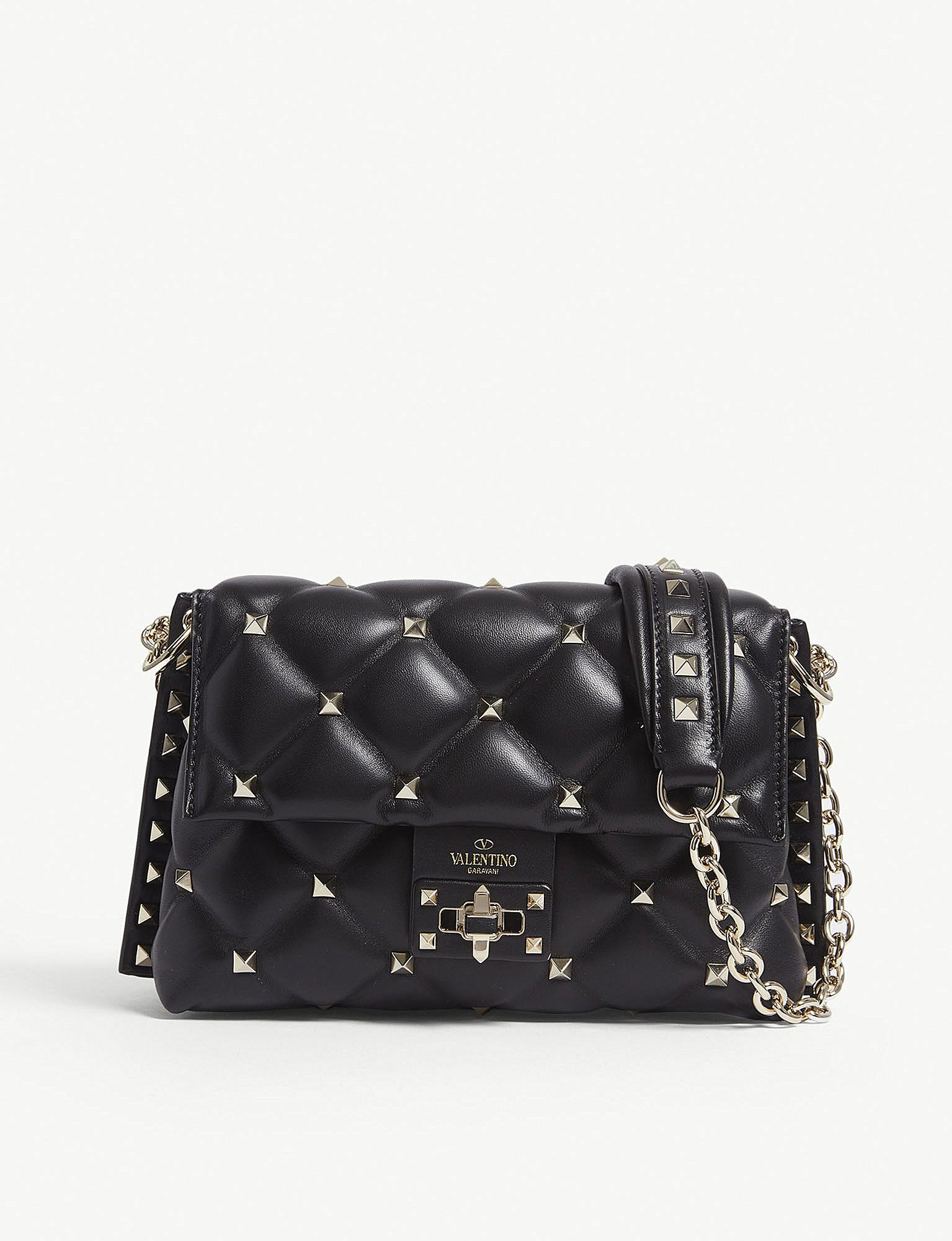 60ac5bc6b479 Valentino Black Candy Rockstud Leather Cross Body Bag in Black - Lyst