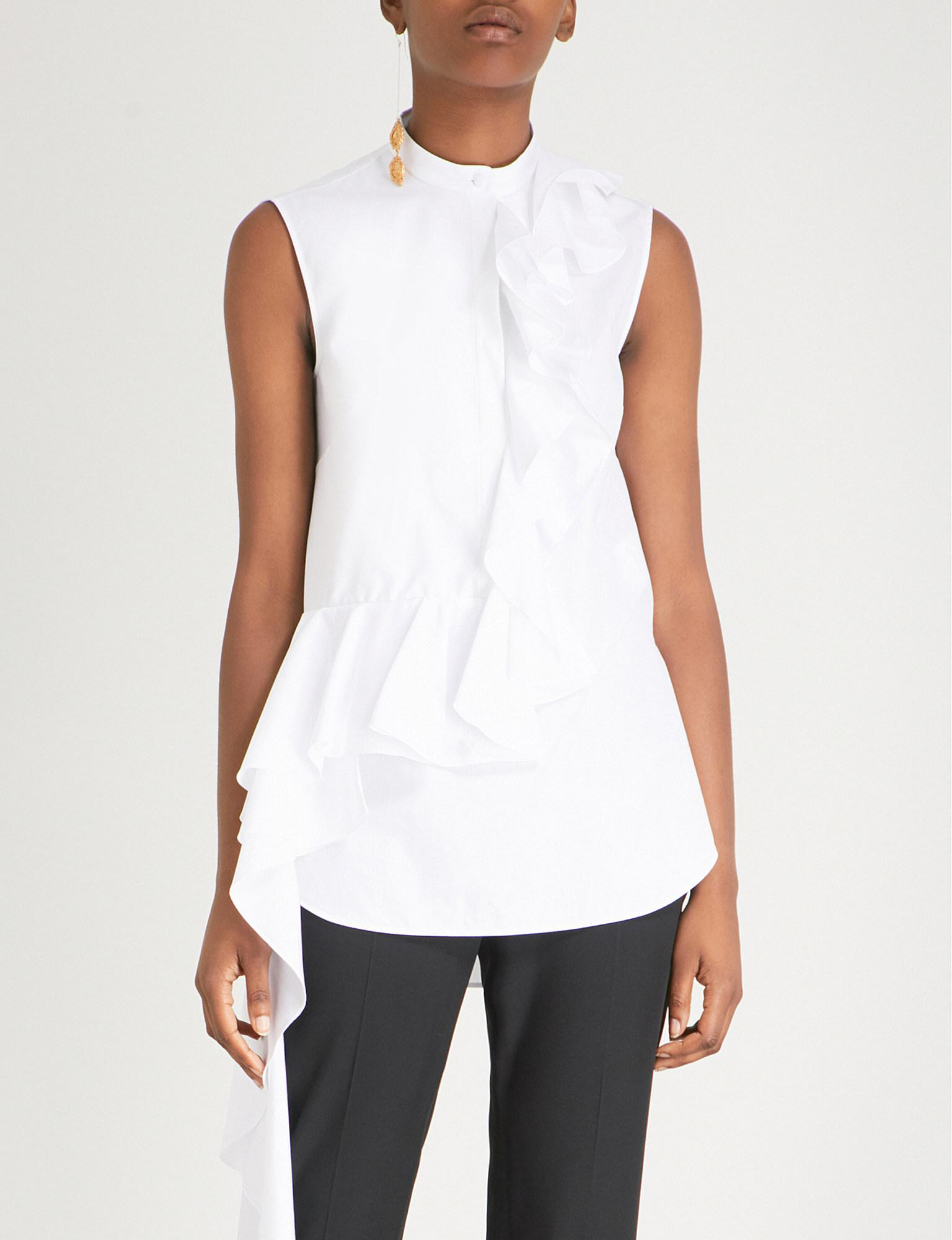 Popular Sale Online Ruffle-trimmed Cotton-poplin Shirt - White Alexander McQueen Cheap Great Deals jwSMRX