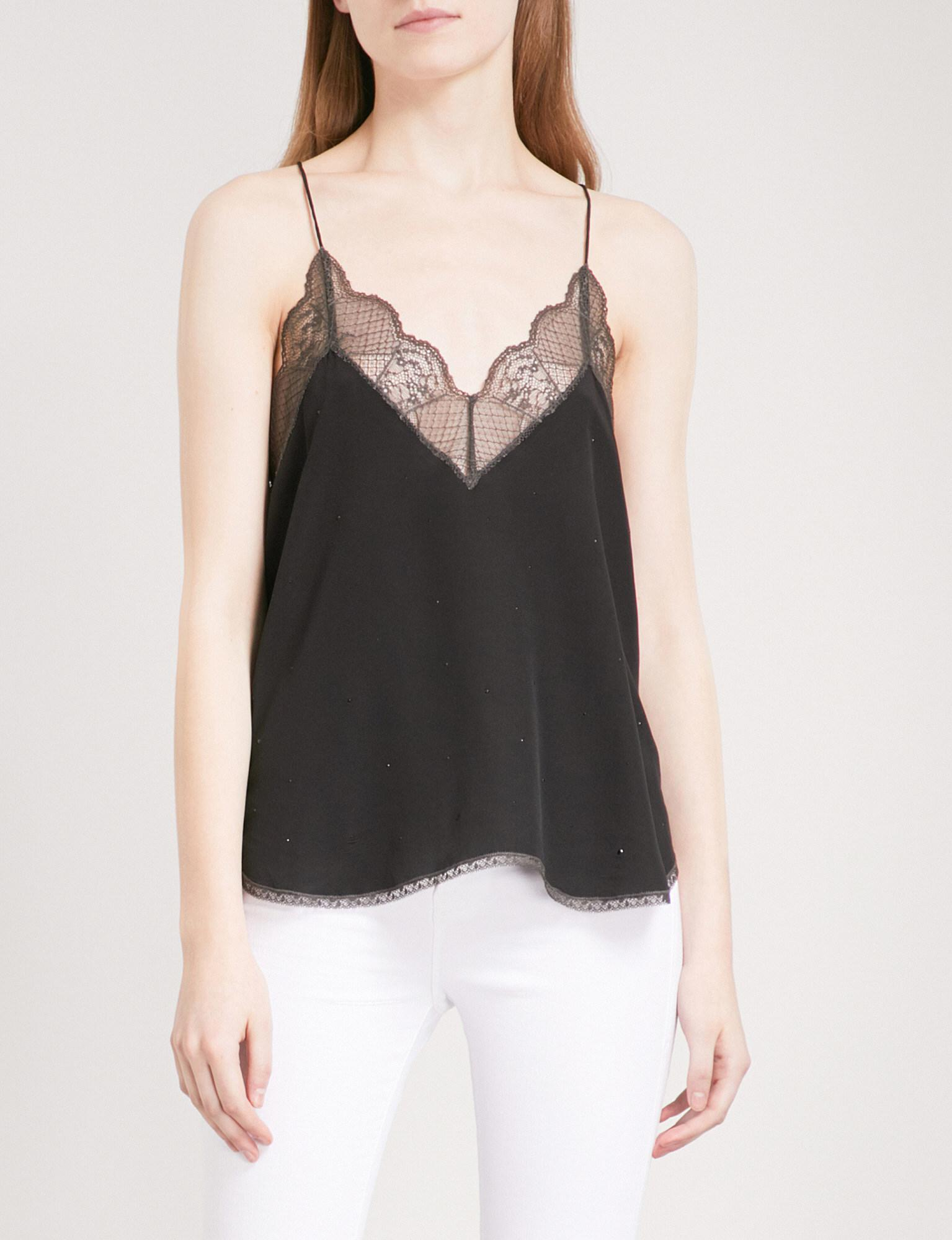 56d4ce20c49 Zadig & Voltaire Christy Strass Silk And Lace Top in Black - Lyst