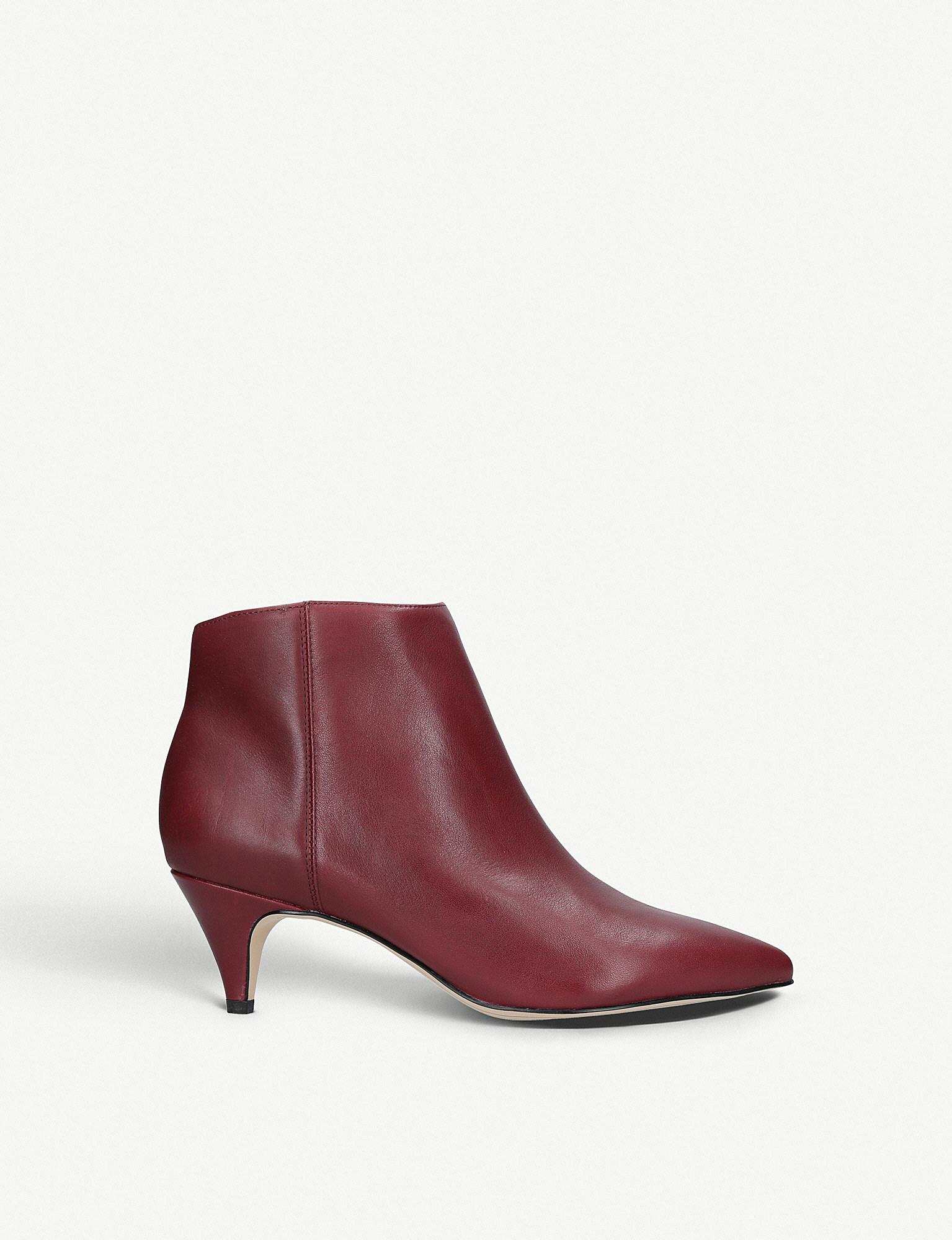 026d8603f4c6 Sam Edelman Kinzey Leather Ankle Boots in Red - Lyst