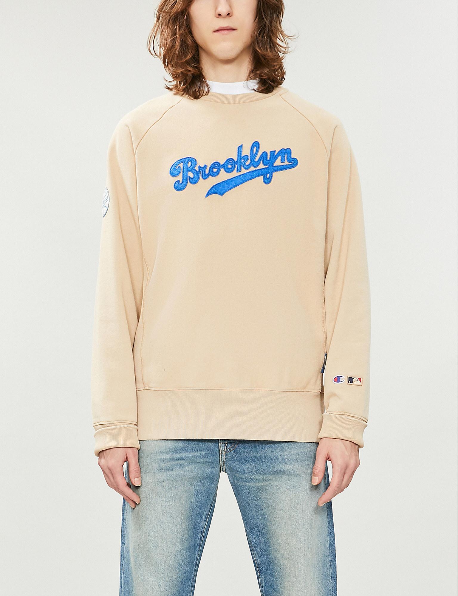 2c9a6c3d754b Champion. Men's Natural X Mlb Brooklyn Dodgers Logo Cotton-jersey Sweatshirt