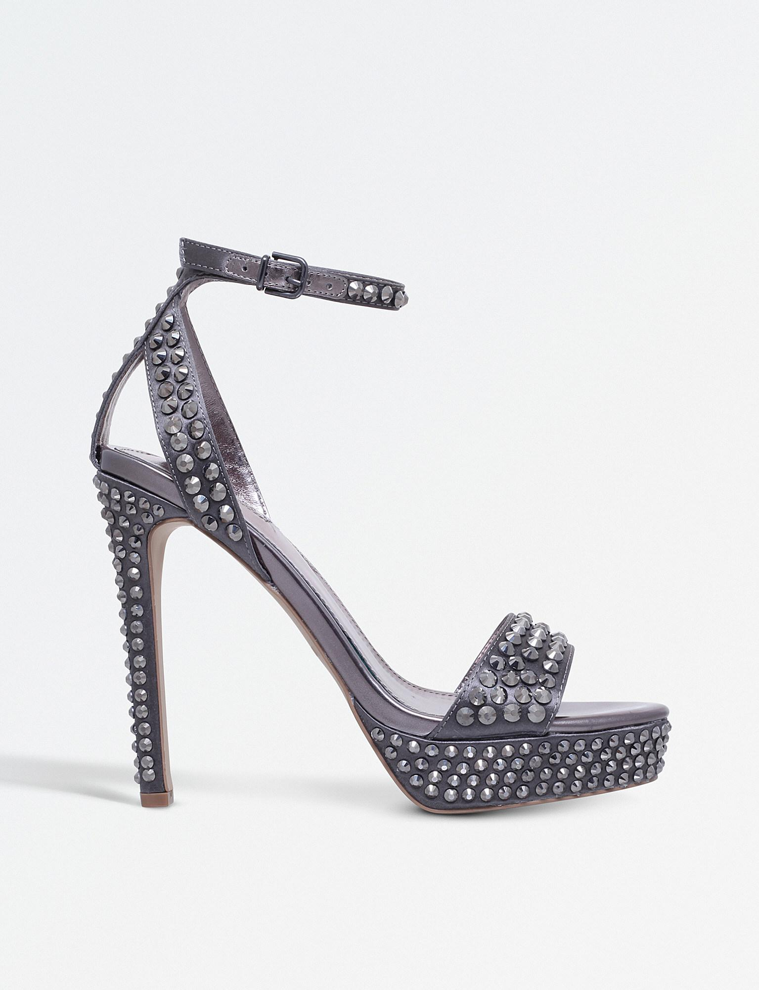 48d3fd9dea2 Carvela Kurt Geiger Genna Satin Studded Platform Sandals in Gray - Lyst