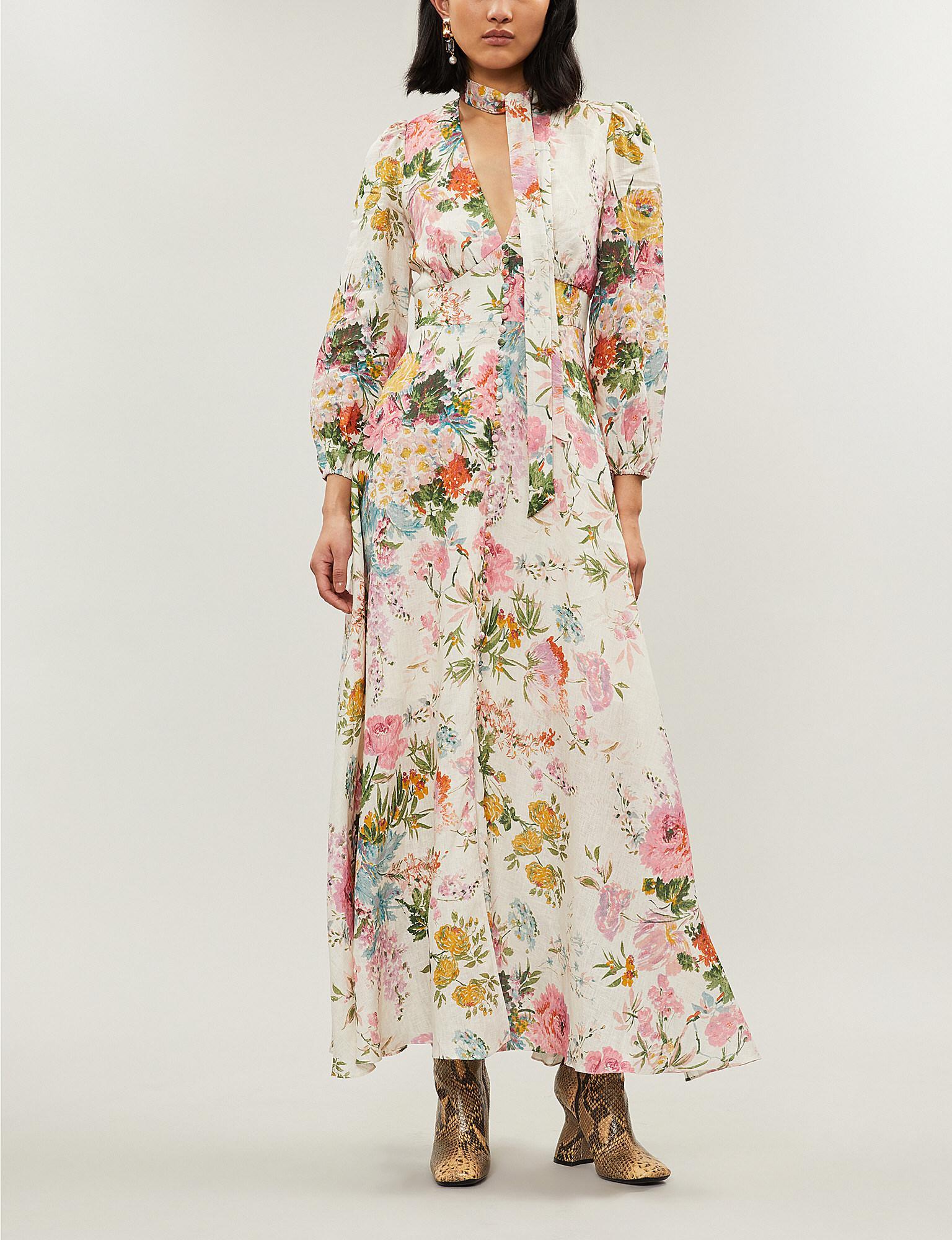35395504d1c0c Zimmermann. Women's Heathers Plunge Floral-print Linen Dress