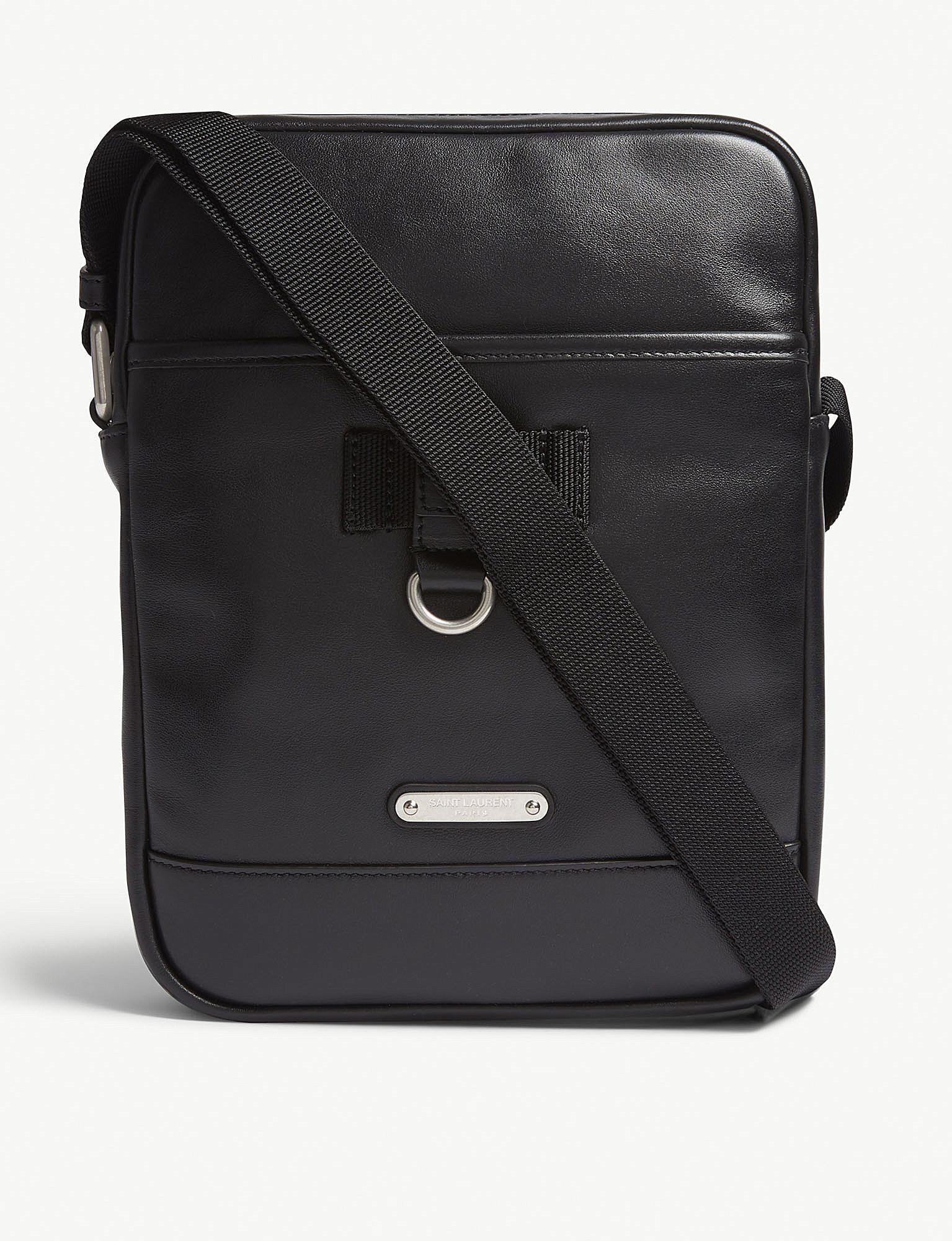 fb83e89cf31 Saint Laurent. Men's Black Rivington Canvas And Leather Messenger Bag