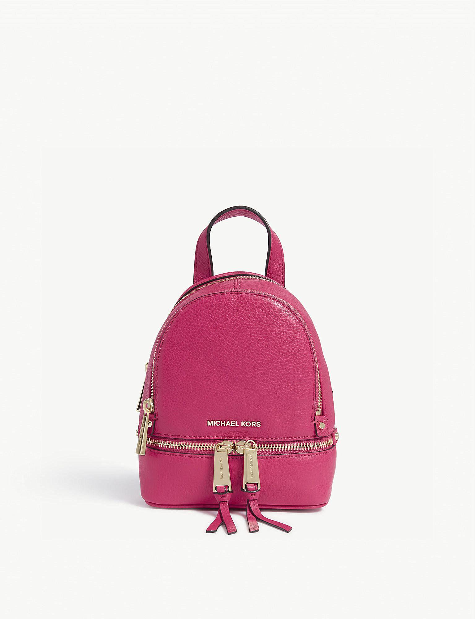 07dc0acace3e Lyst - MICHAEL Michael Kors Rhea Extra-small Leather Backpack in Pink