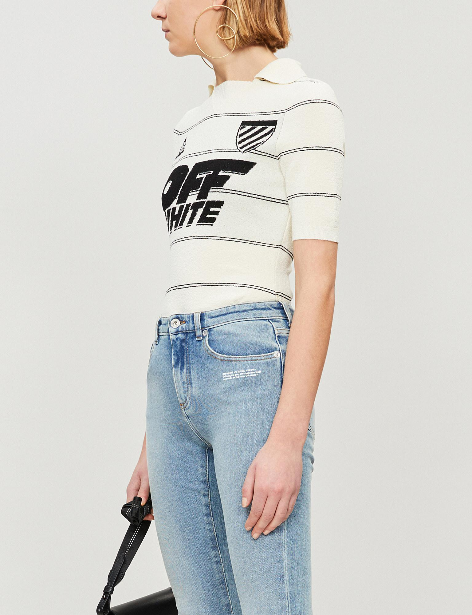 f71af9c58f Lyst - Off-White c o Virgil Abloh Striped Stretch-knit Top in White