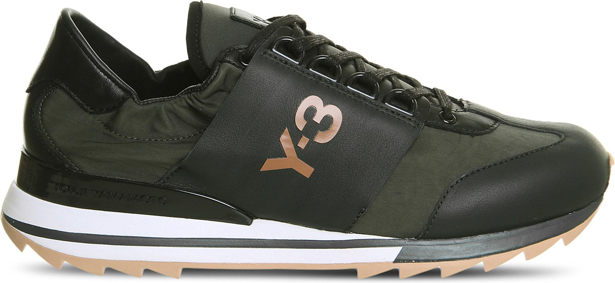 d5de8dbb7277 Y-3 Rhita Sport Leather And Mesh Trainers in Black for Men - Lyst