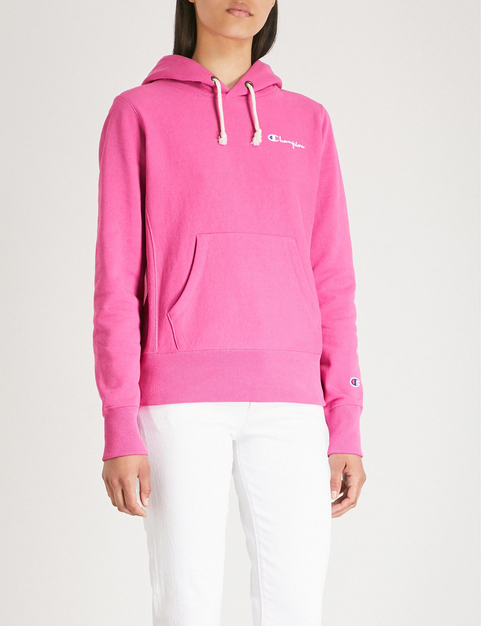 124a40477735 Lyst - Champion Logo-embroidered Cotton-jersey Hoody in Pink