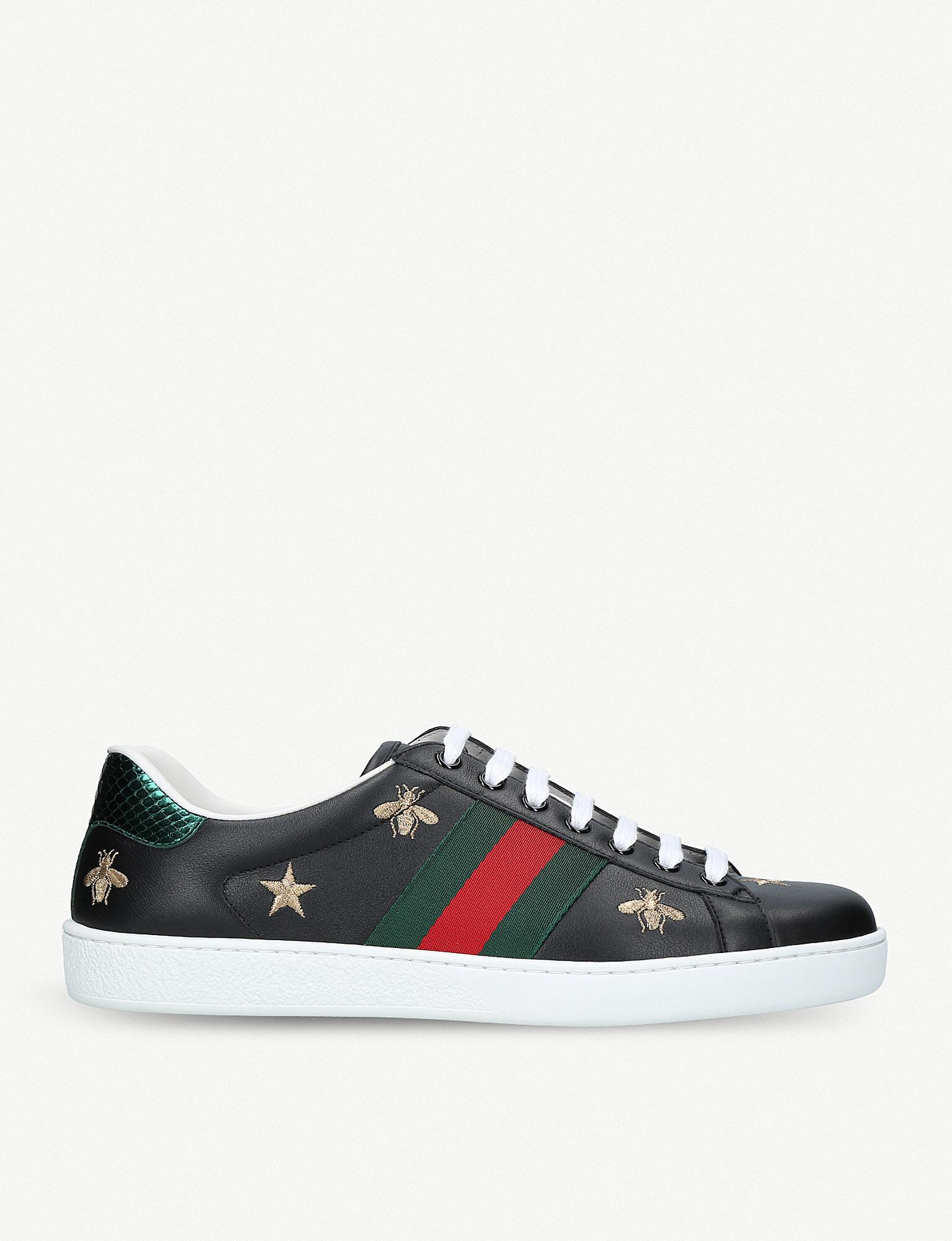 ab9c3b8d688 Lyst - Gucci New Ace Bee-embroidered Leather Trainers in Black for Men