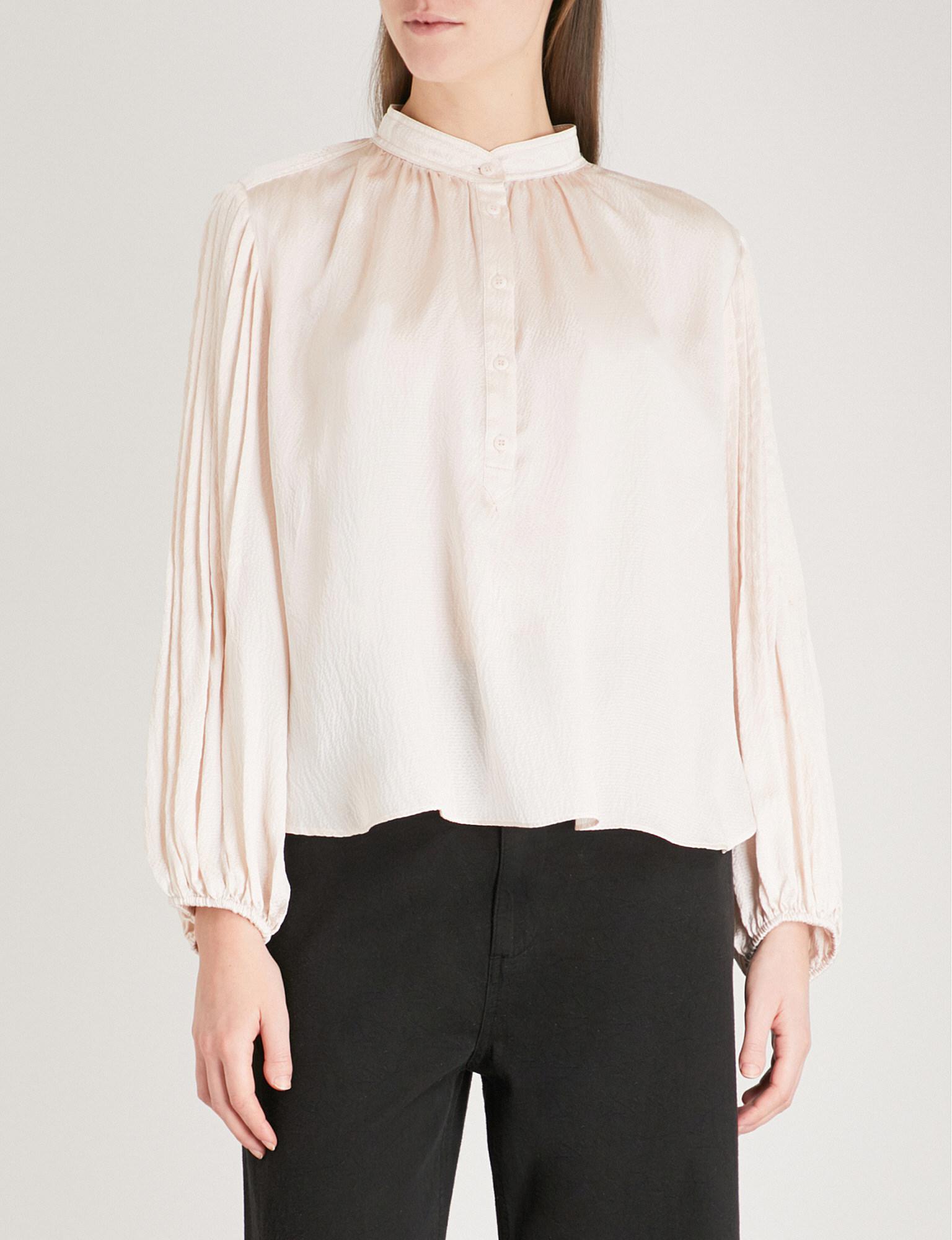 46815893dee199 Apiece Apart Bravo Silk-satin Blouse in White - Lyst