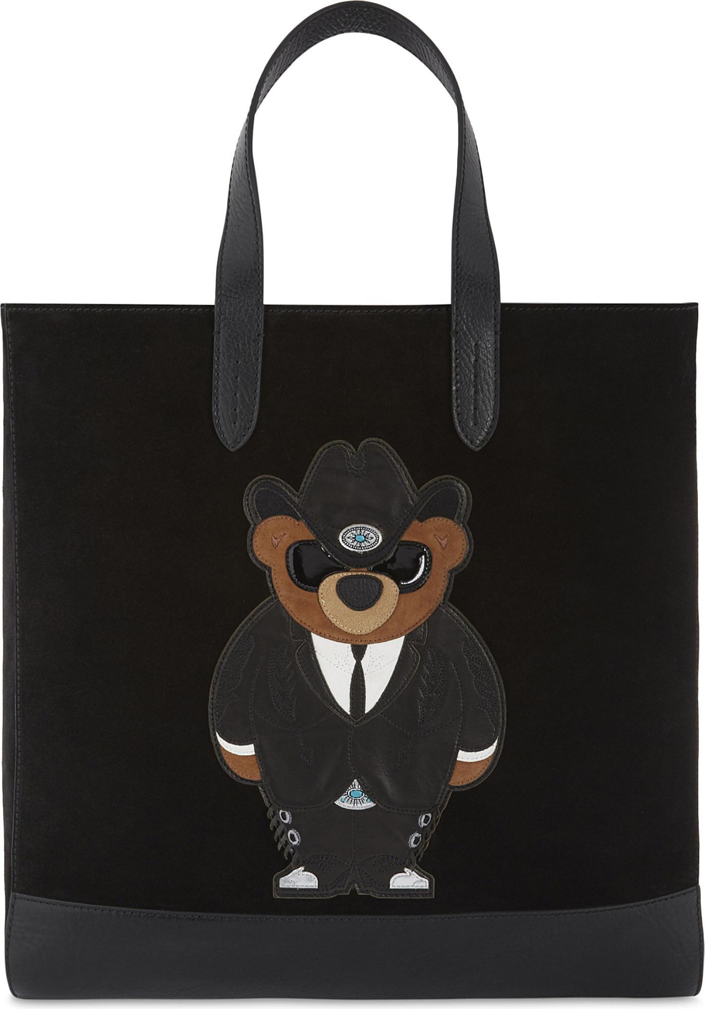 b1eb74e53093 Lyst - Ralph Lauren Purple Label Western Bear Suede Tote in Black