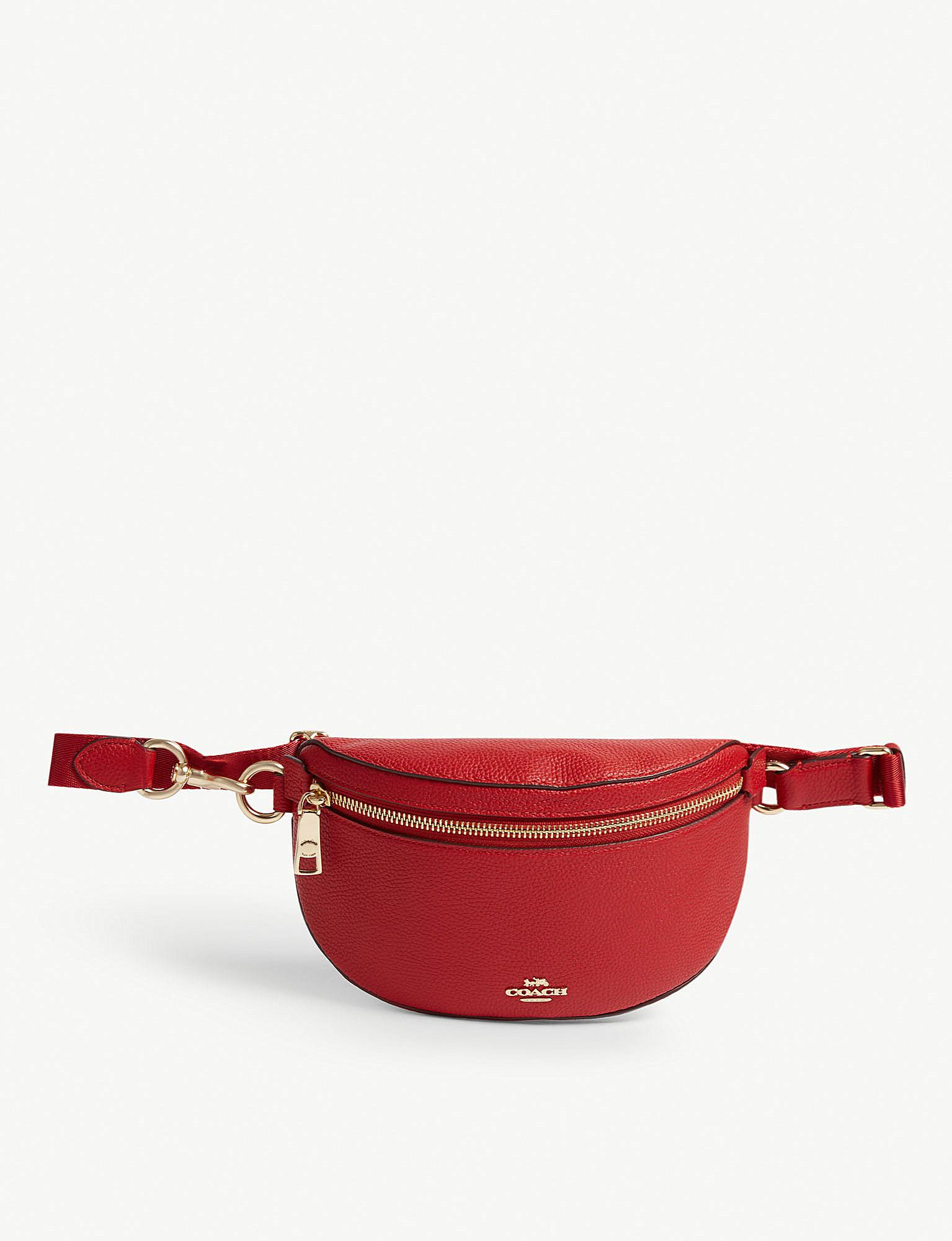 ef9aba427e71 Coach Leather Belt Bag in Red - Lyst