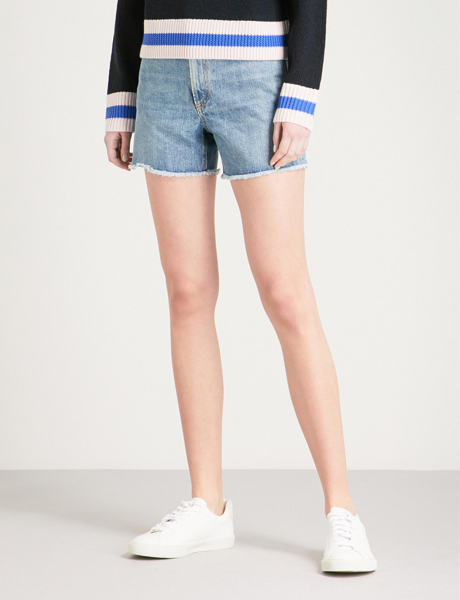 90b6559710 Rag & Bone Torti High-rise Denim Shorts in Blue - Lyst